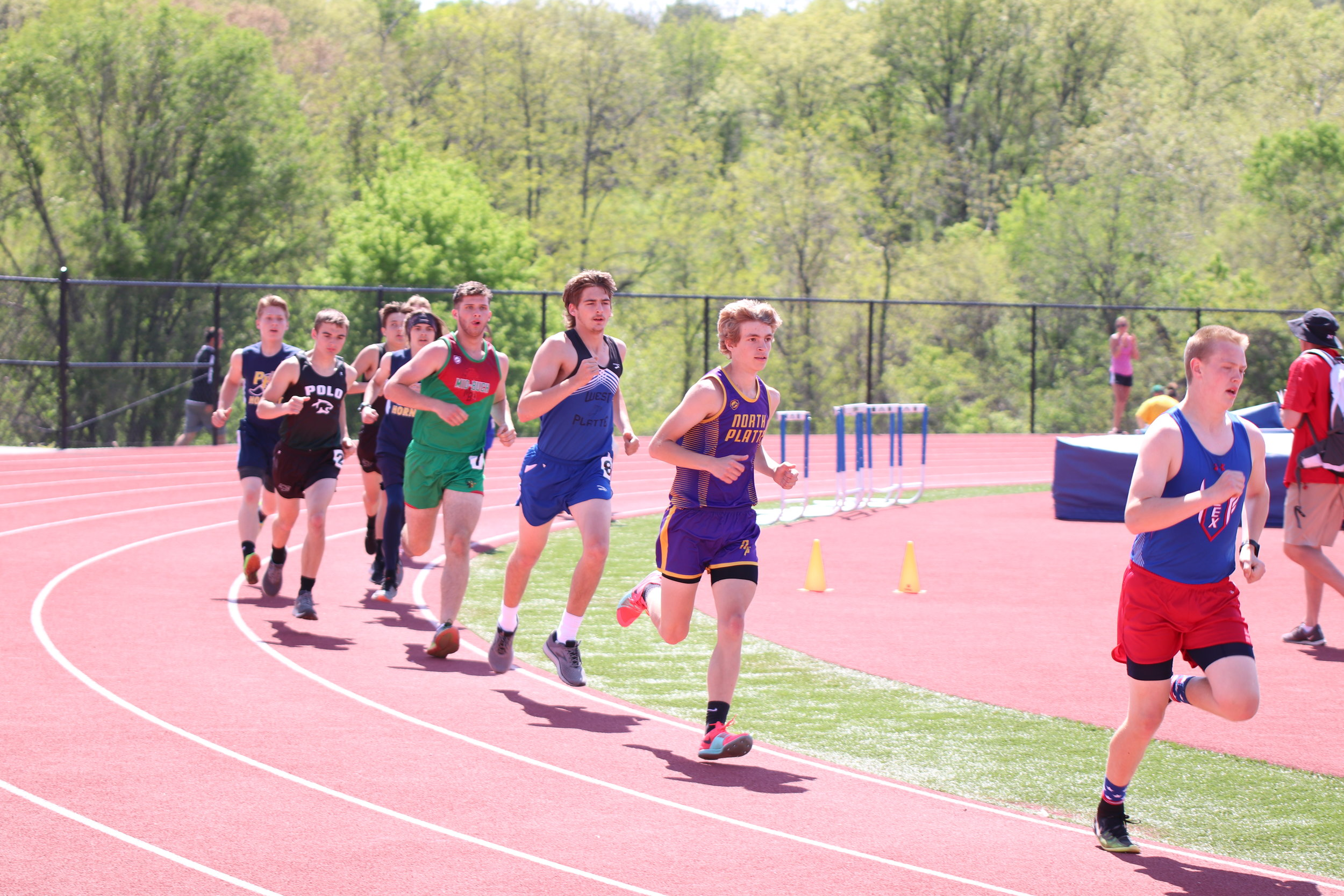CODY THORN/Citizen photo  North Platte's Zach Lee, second from right, advanced to the sectional meet after a top-four showing at the Class 2 District 7 meet held on Saturday, May 4 in Weston.