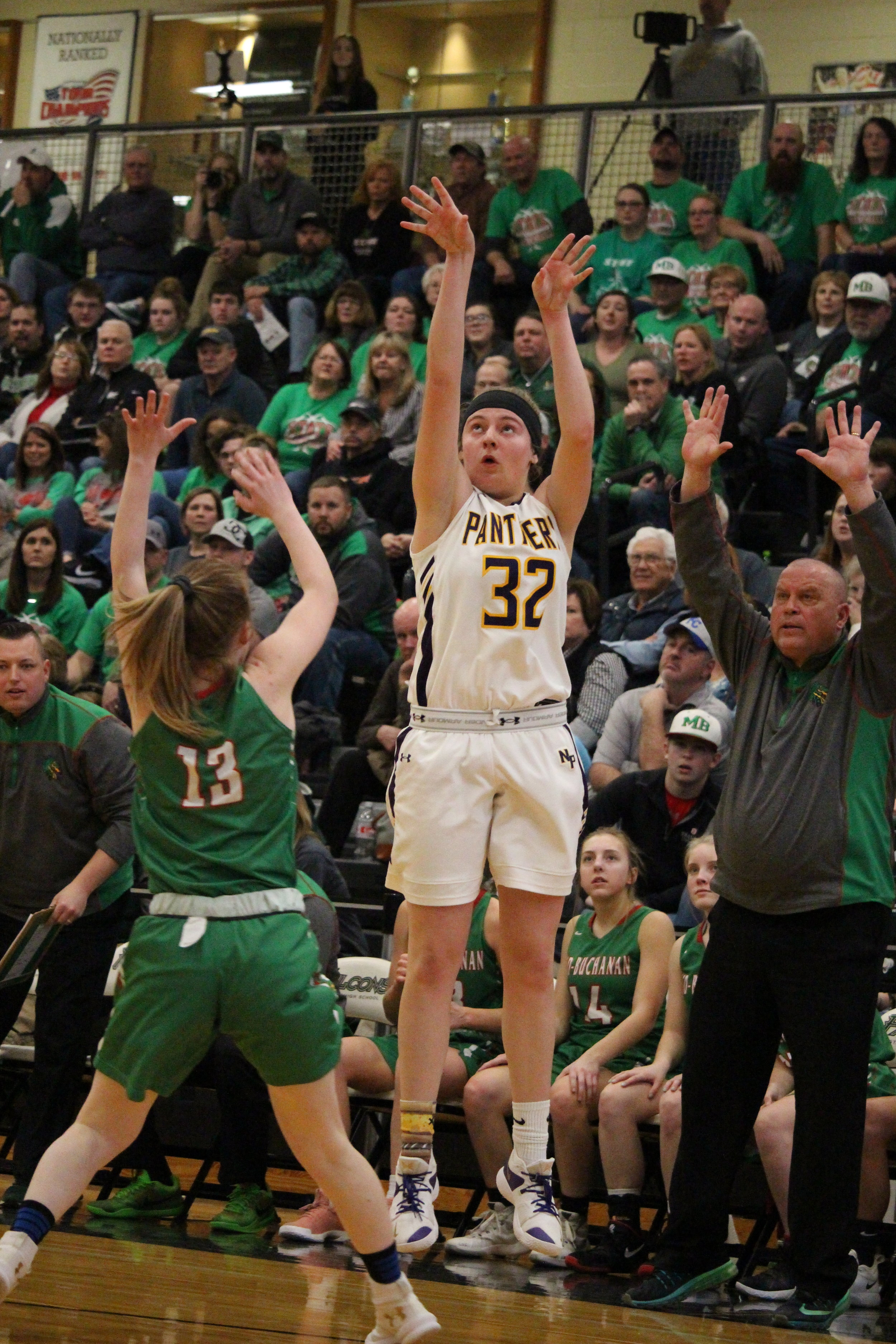 Citizen file photo  North Platte's Grace Rice shoots a 3-pointer against Mid-Buchanan in a playoff game earlier this year. Rice will play basketball at University of Saint Mary next year.