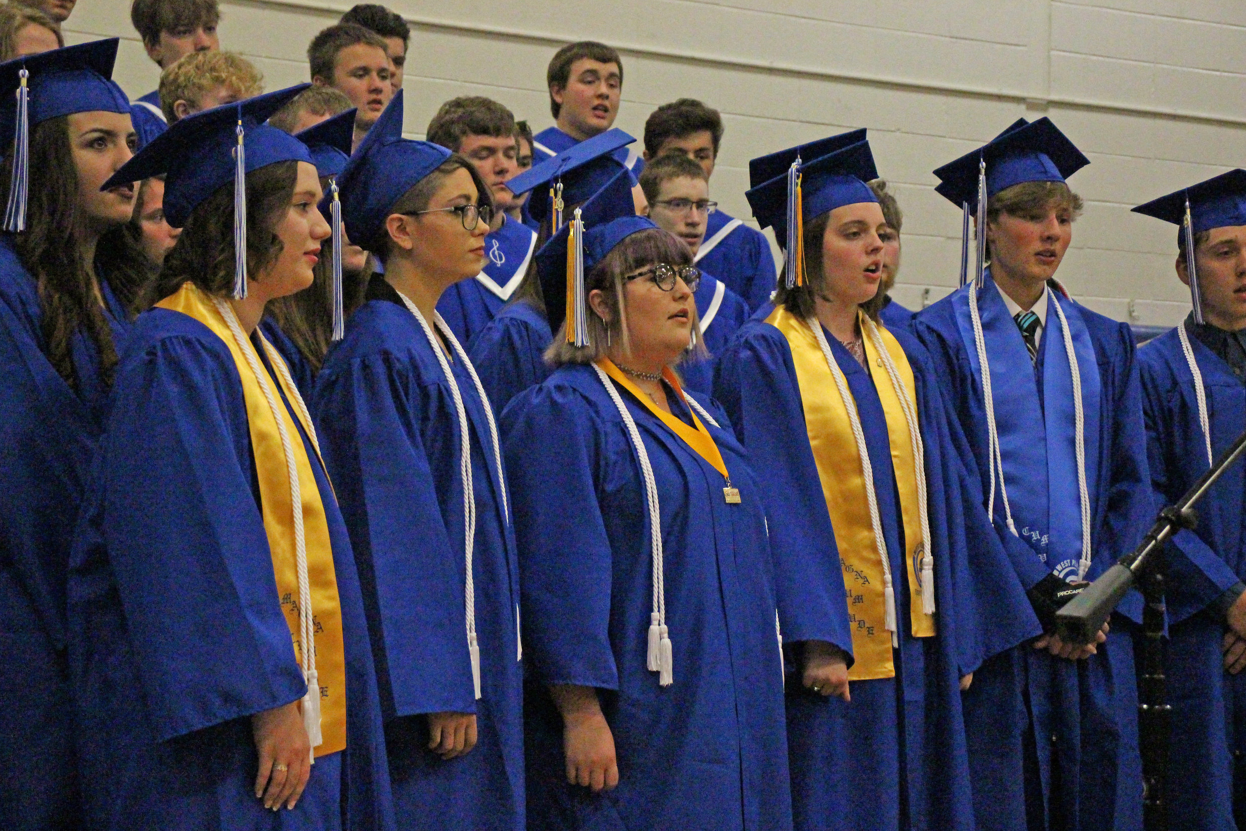 West Platte High School's senior class graduated at a ceremony held Sunday, May 19 at the high school in Weston. The high school choir performed 'Gone, Gone, Gone' prior to the presentation of diplomas. Members of the board of education took turns presenting the diplomas.