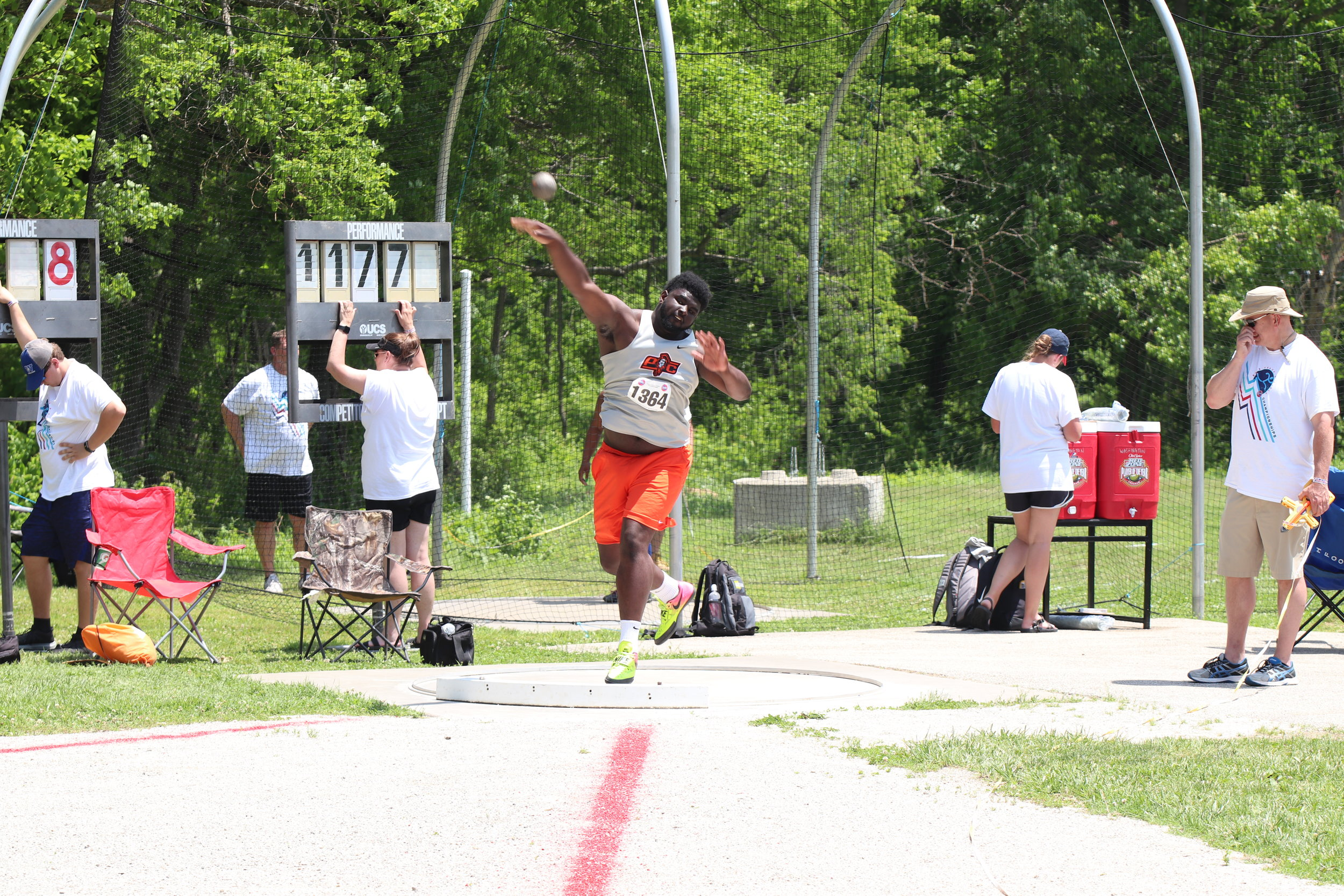 CODY THORN/Citizen photos  Platte County's Xavier Keith, left, finished second in the Class 4 shot put finals on Saturday, May 25 at Washington High School in Washington, Mo. He was leading the field after the first two flights.