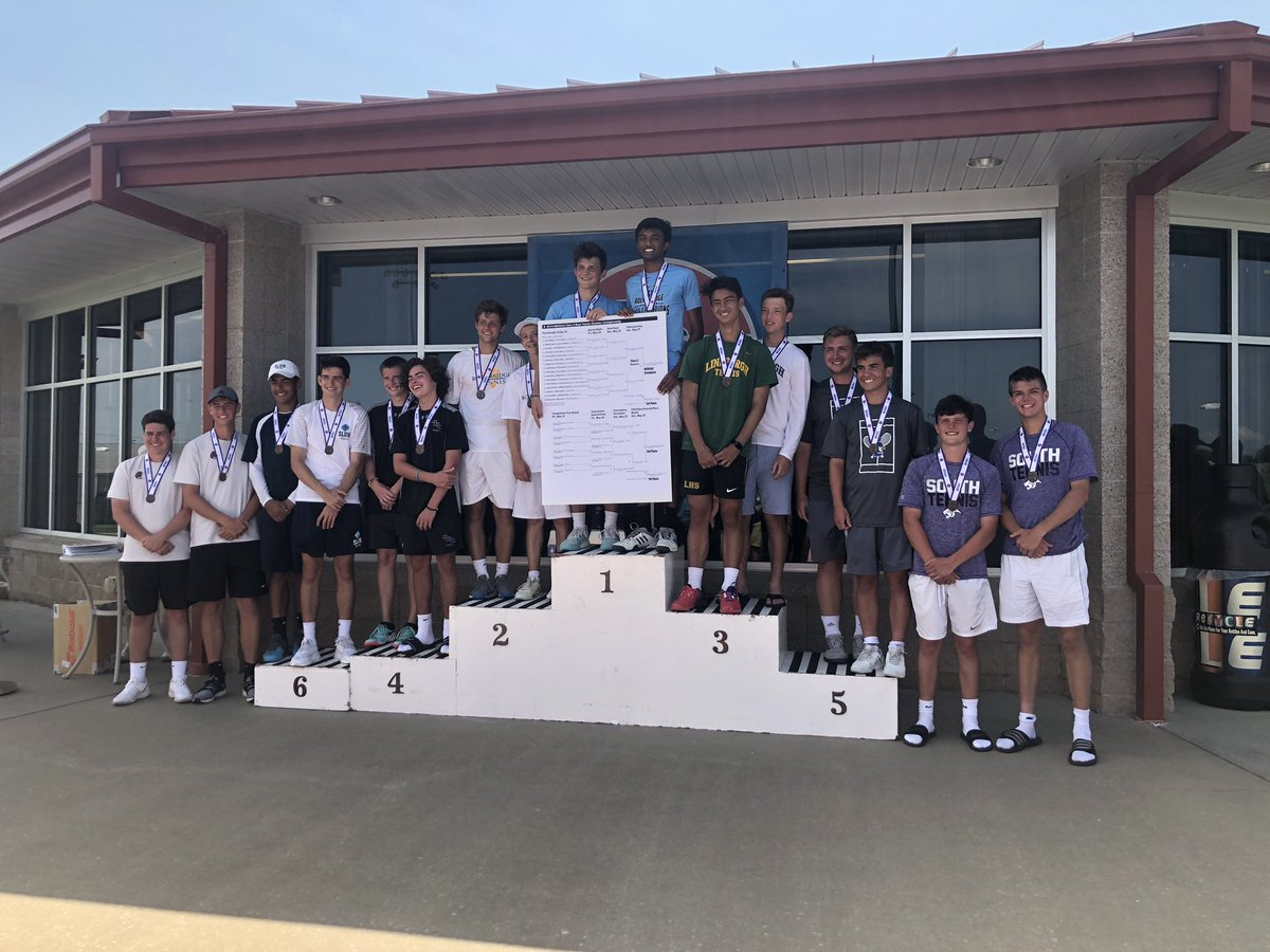 Submitted photo  The Park Hill South doubles team of Andrew Robaska and Cooper Hayes, far right, took seventh place at the MSHSAA Tennis Championships on Saturday, May 25 in Springfield, Mo.