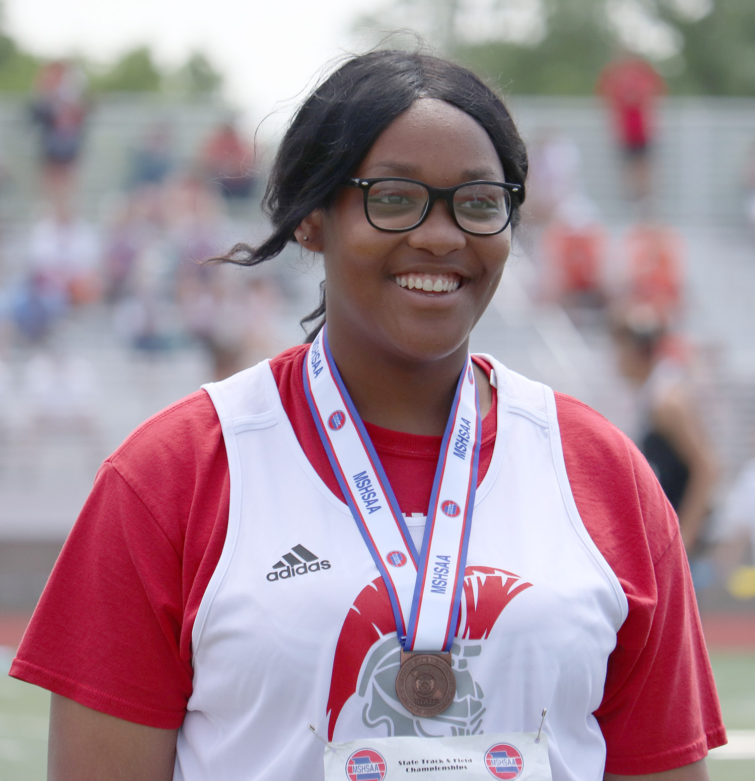 DENNIS SHARKEY/Mound City News  Park Hill's LaShunda Tapp took fifth place in the Class 5 shot put event on Saturday, May 25 in Columbia, Mo.