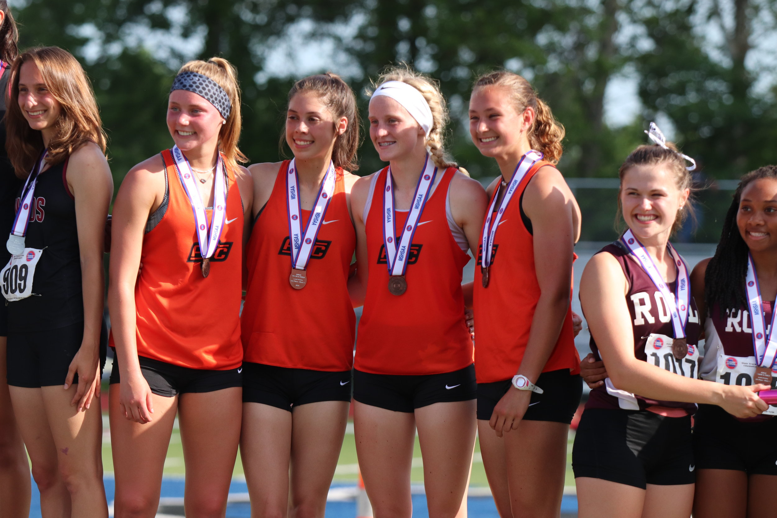 CODY THORN/Citizen photo  The Platte County 4x400-meter relay team took fourth place during the Class 4 state track and field championships. The team from left to right, Bryn McGehe, Haley Luna, Isabelle Geddes and Abbie Schwieder.