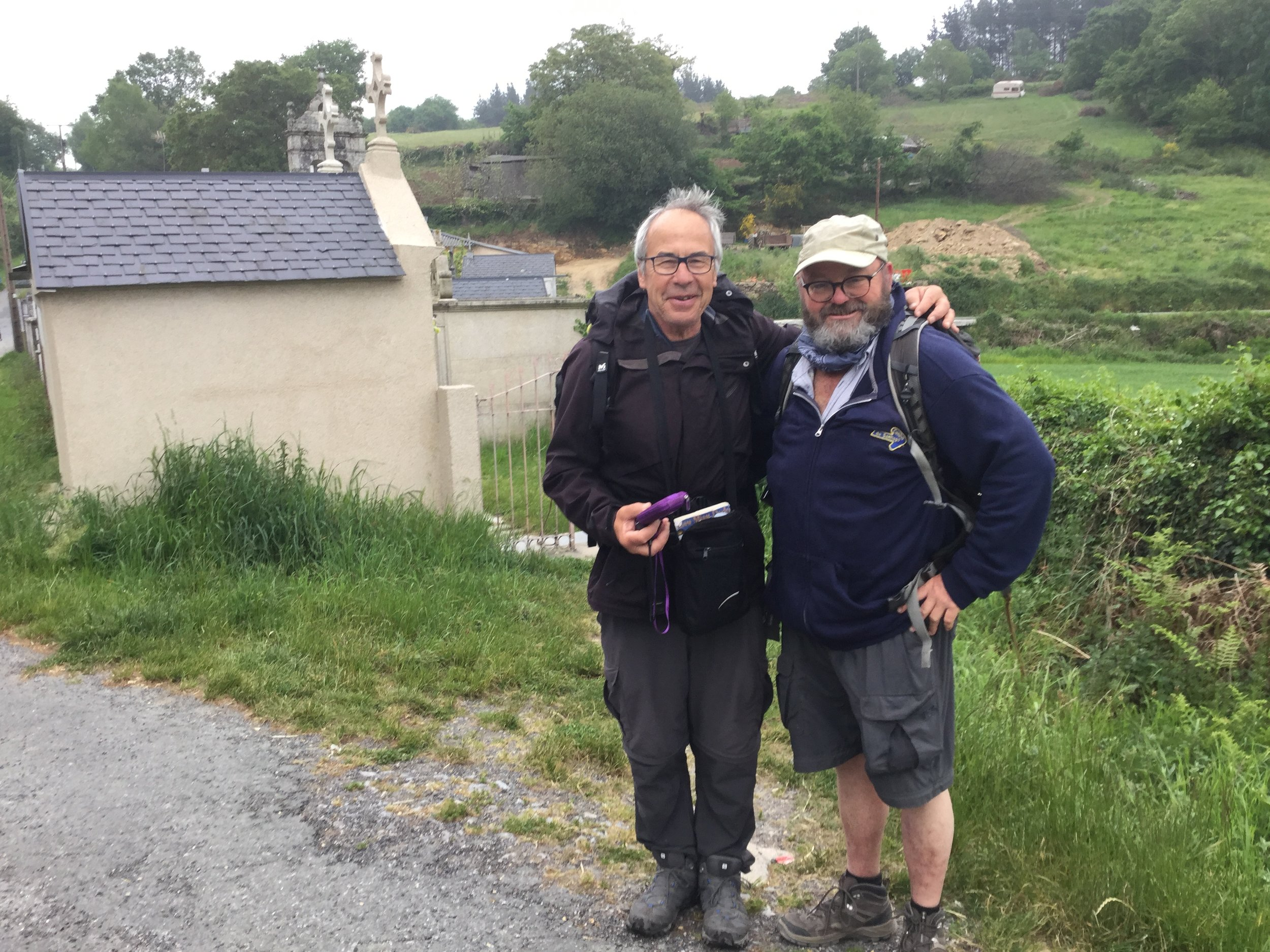 Submitted photo Camden Point resident John Larimer, right, poses for a photo with a friend, Etienne, during his trek through Europe.