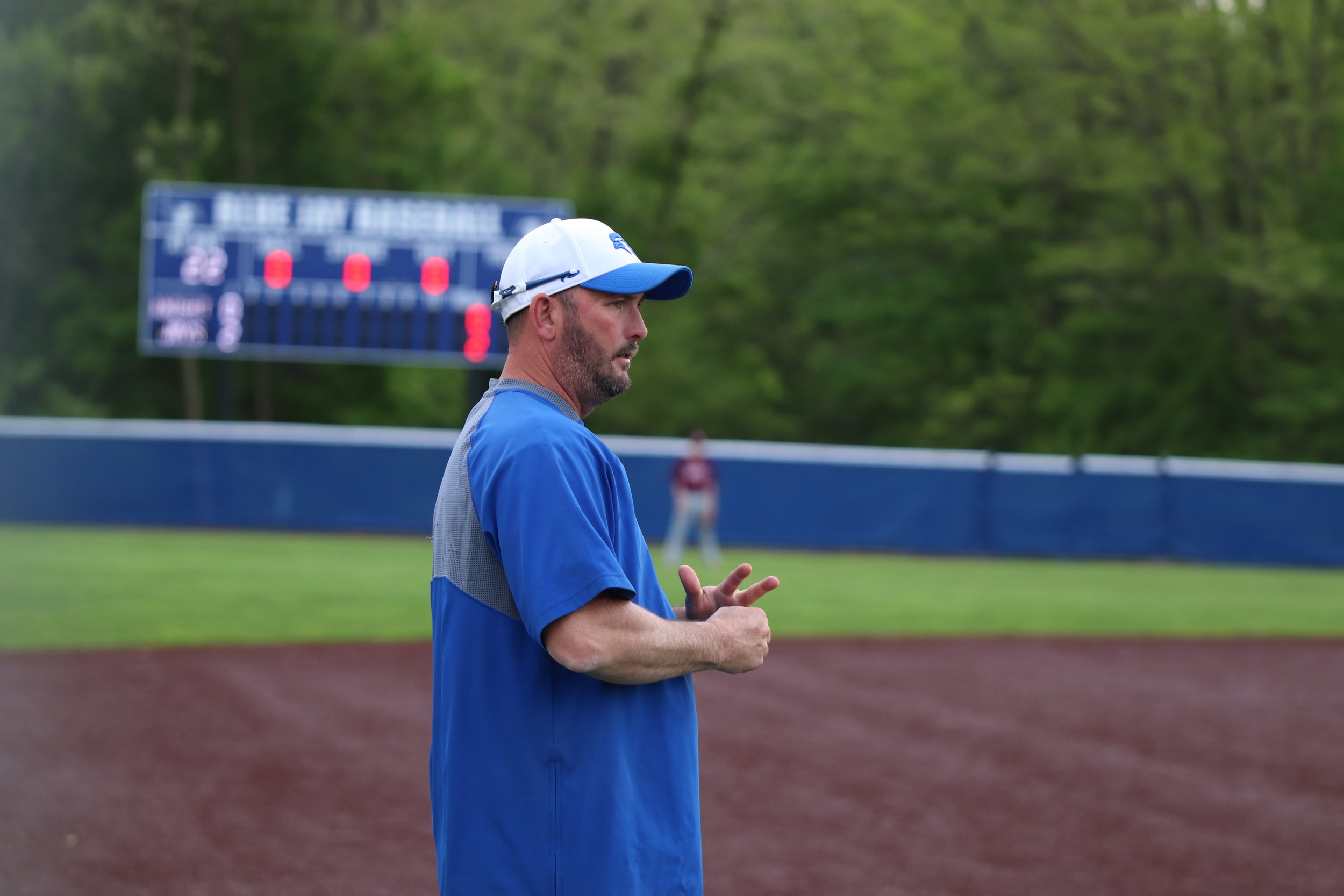 CODY THORN/Citizen photo  West Platte baseball coach Tanner Lawson looks on during a district game last month in Weston. Lawson resigned as the Bluejays coach to become a principal at DeKalb.