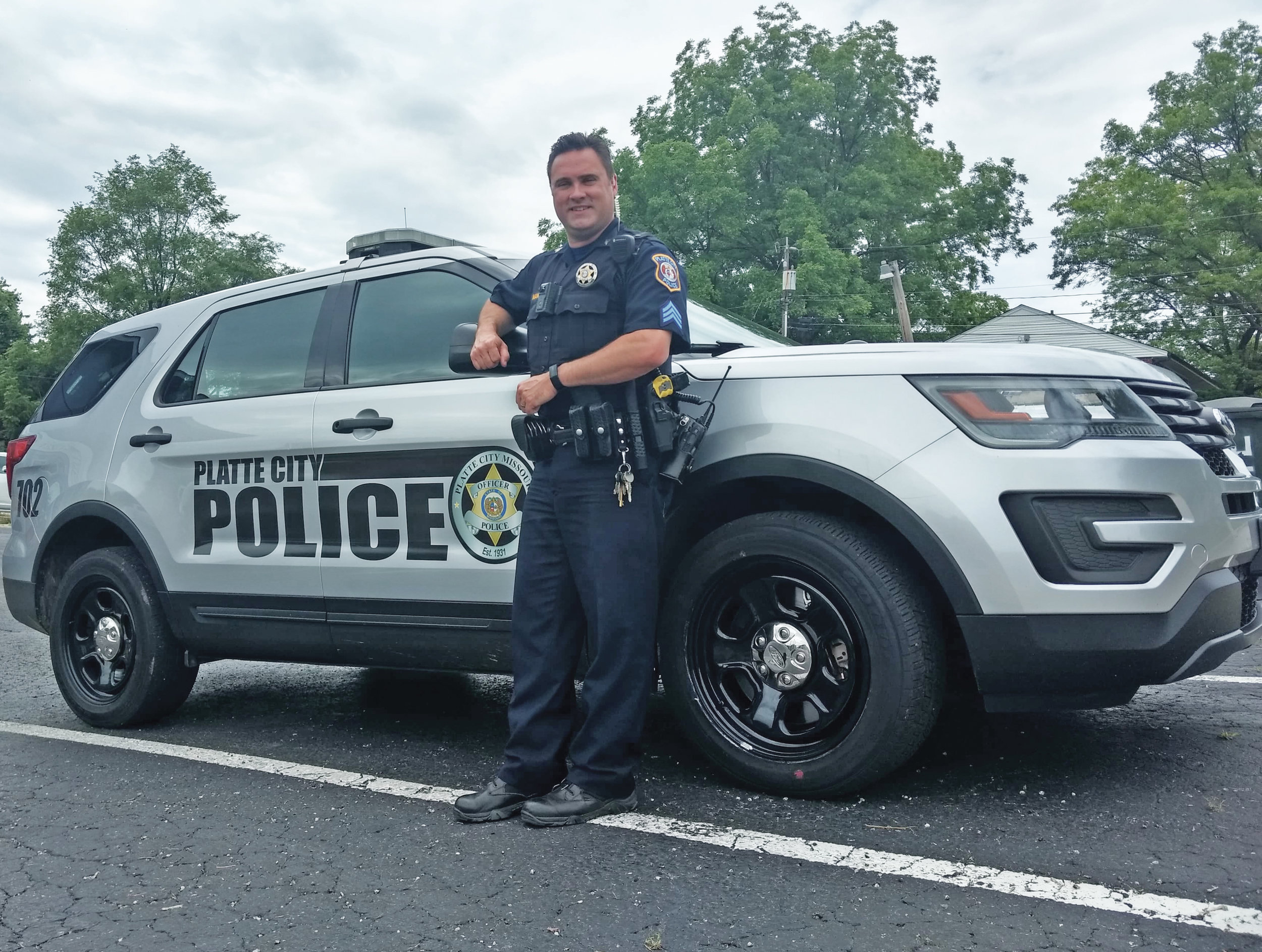 JEANETTE FAUBION/Citizen photo Sgt. Mike Mand, father of two, has served with the Platte City Police Department for 12 years.