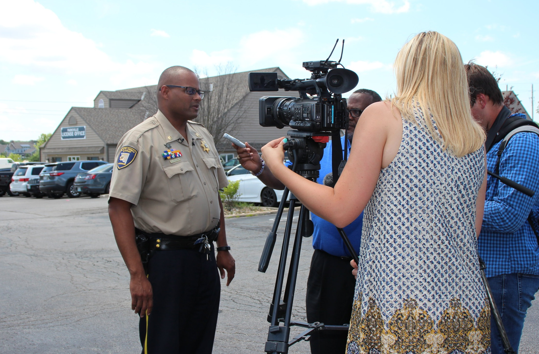 JEANETTE FAUBION/Citizen photo Maj. Erik Holland of the Platte County Sheriff's Office updated media on the situation shortly after the suspect was apprehended on Tuesday, July 9.