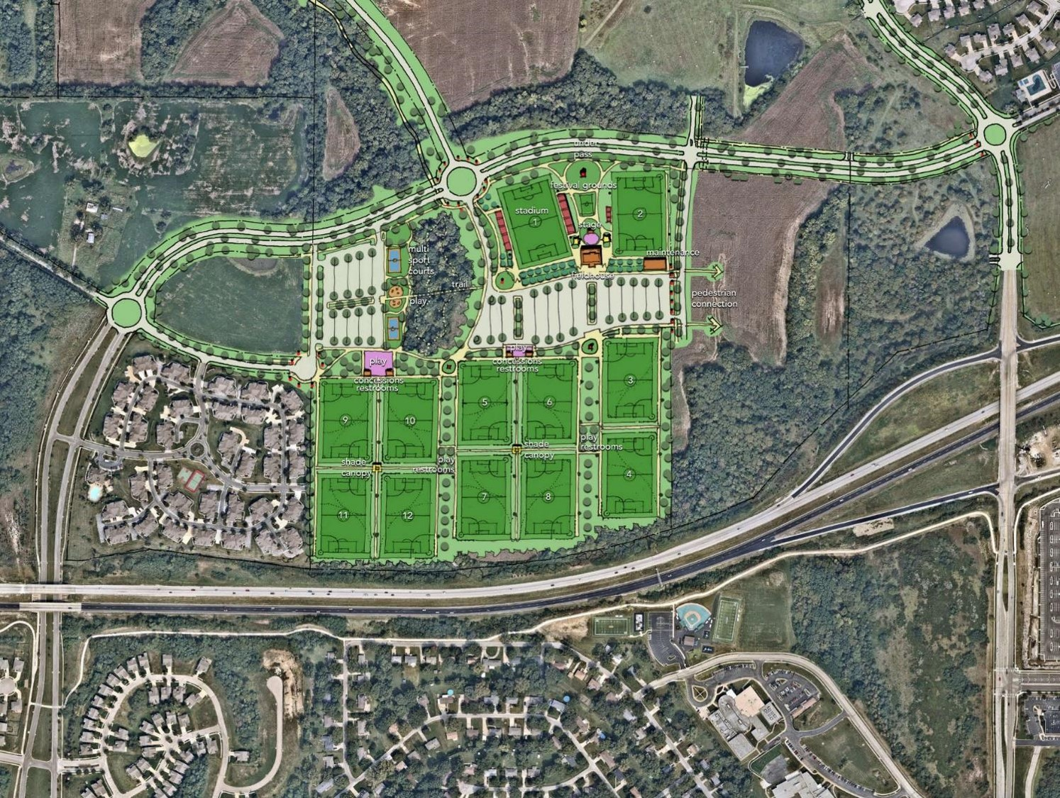Contributed photo The above rendering shows what the new soccer complex located in Platte County will look like. The council is forging ahead with plans to construct the $42 million project at Highway 152 and N. Platte Purchase Road. In the far right hand corner is the area near Barry School.