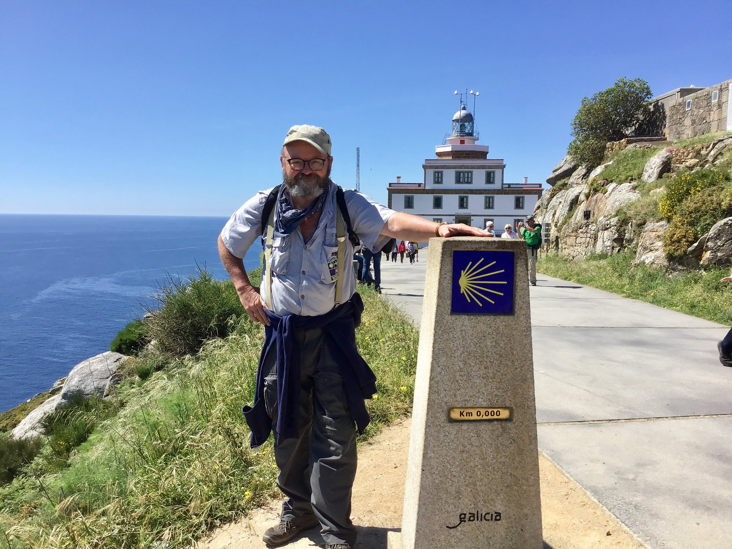 Contributed photo John Larimer reaches the end of his pilgrimage in Santiago.