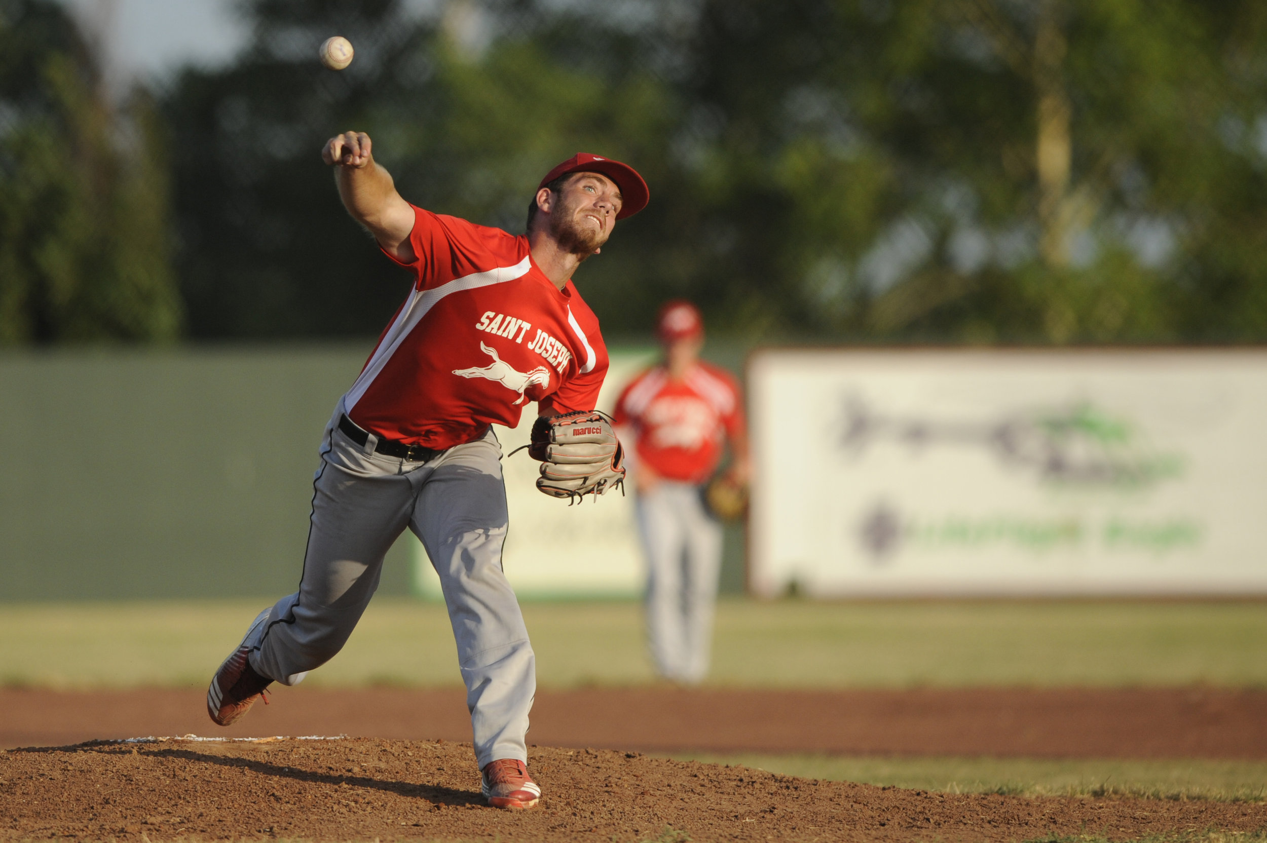 NICK INGRAM/Special to the Citizen  Park Hill South product Jacob Purl throws a pitch home during a St. Joseph Mustangs game earlier this season.