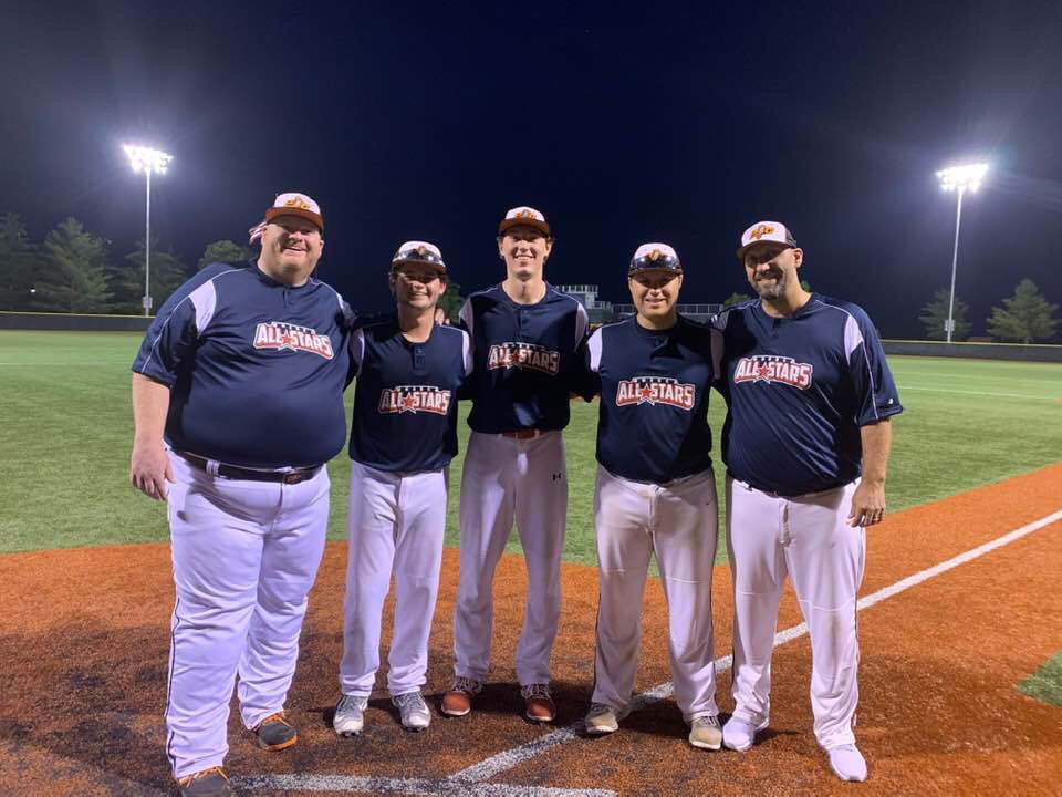 Contributed photo  Platte County had three players and two coaches in the MSHSBCA Senior All-Star game. Pictured from left: coach Dave Baker, Dalton Riechers, Ethan Esdohr, Colby Sneed and coach Randy Sneed.