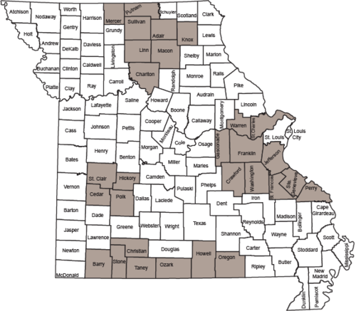 MDC has a CWD Management Zone of counties in or near where CWD has been found. The 29 counties of the CWD Management Zone for this season are shaded on the map.