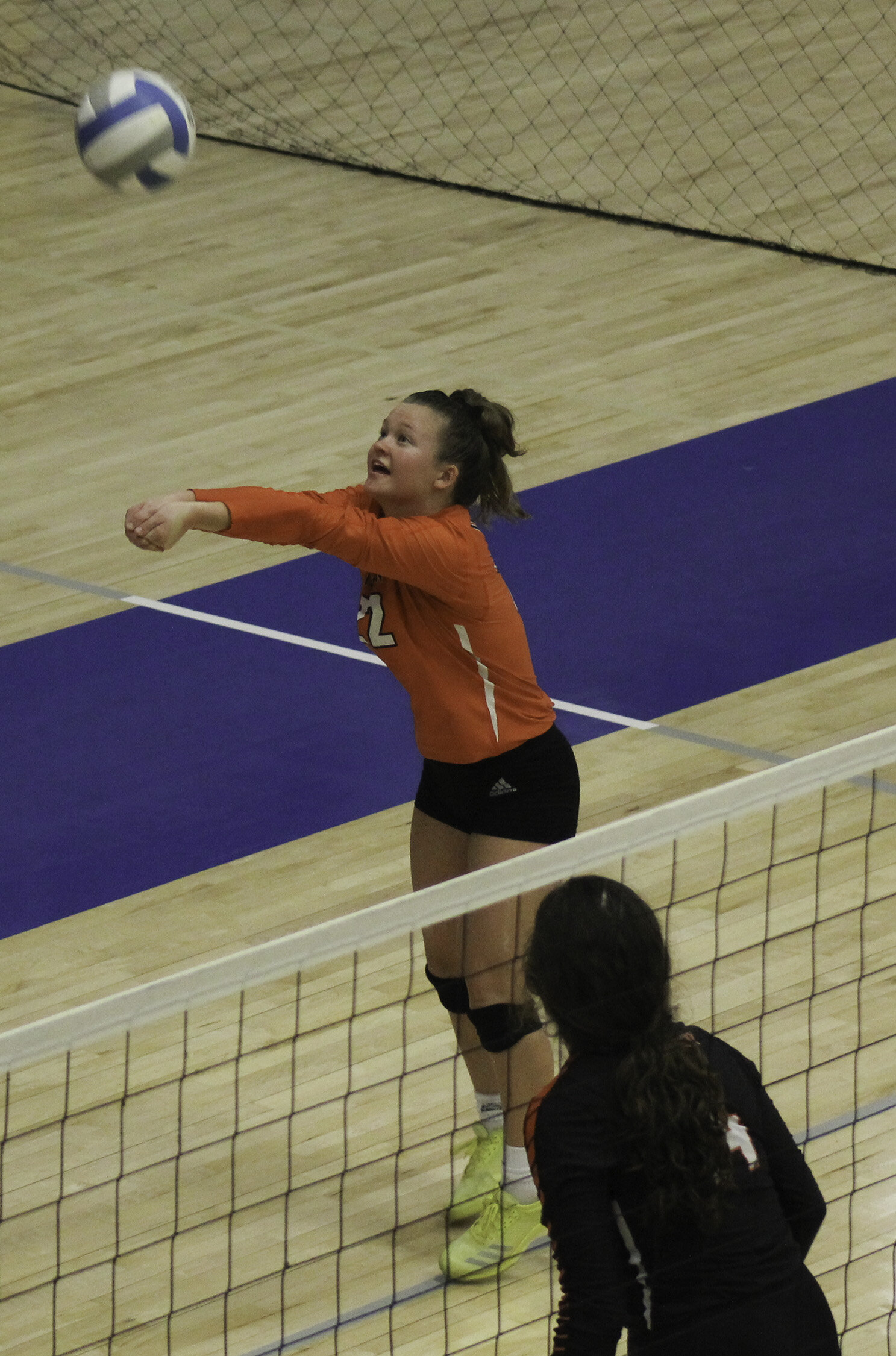 AMANDA SULLIVAN/Special to the Citizen  Platte County's Presli Firkins (22) digs the ball during a match in the Hillcrest Tournament on Saturday, Sept. 14 in Springfield.