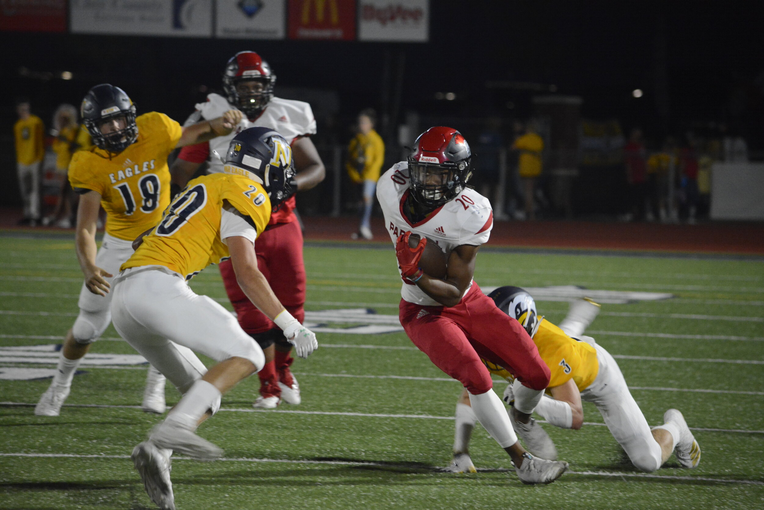ADAM BURNS/Liberty Courier-Tribune  Park Hill's Darion Neal carries the ball against Liberty North in a game on Friday, Sept. 13 at Zaxby's Field in Liberty.