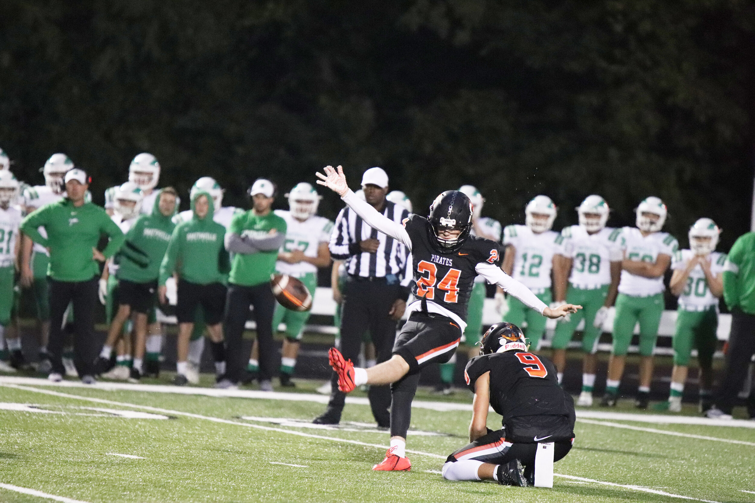 ROSS MARTIN/Special to the Citizen  Platte County kicker Grant Allen made three field goals against Smithville during a 15-0 victory on Friday, Oct. 4 at Pirate Stadium.