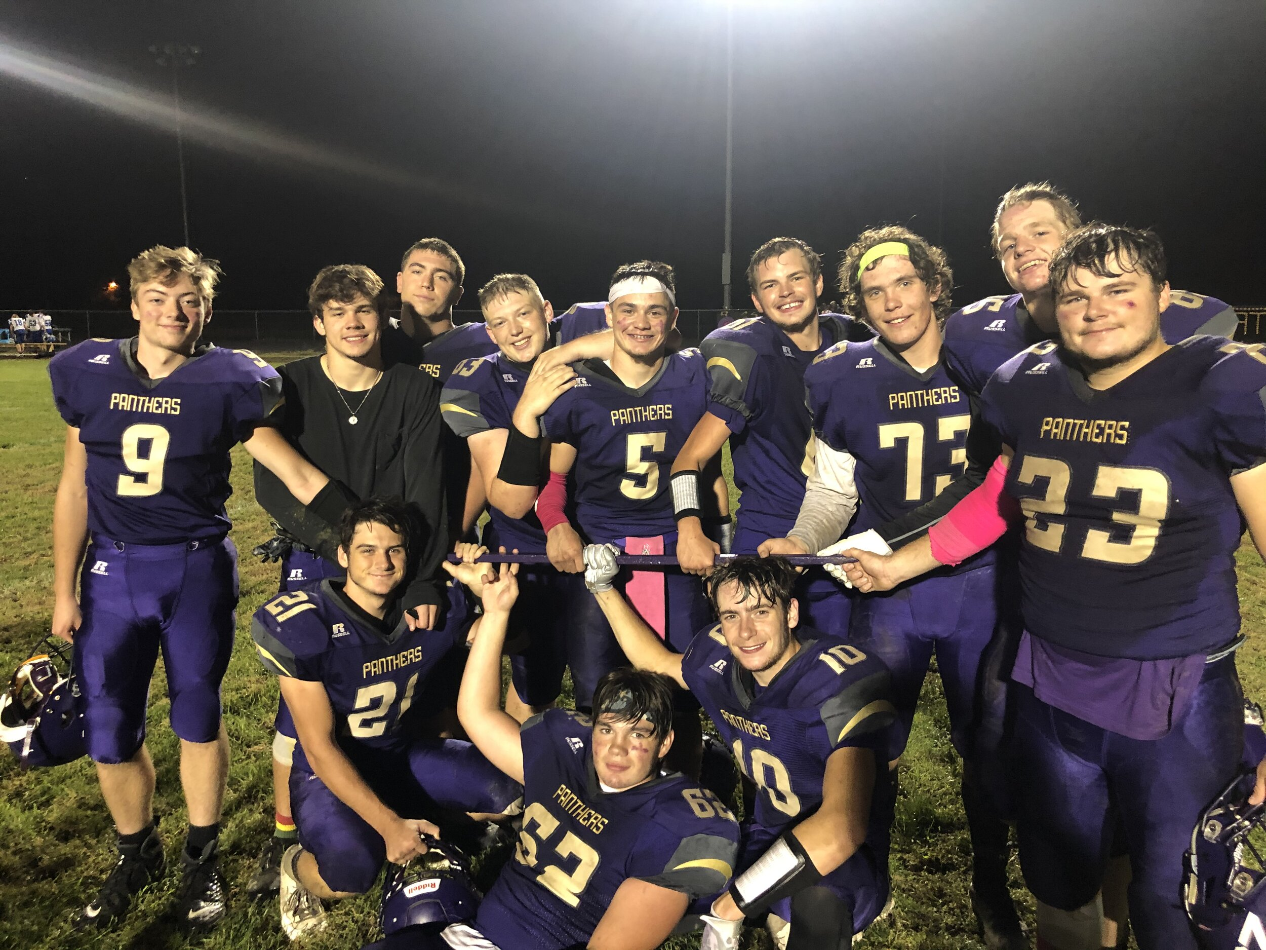 BREANNA CHEADLE/Special to the Citizen  North Platte players celebrate after keeping the Tobacco Stick following a 44-26 victory over West Platte on Friday, Oct. 4 in Dearborn.