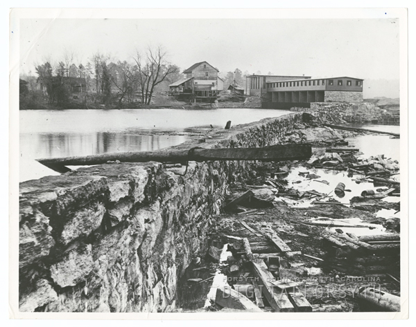 Idols Dam & power plant on the Yadkin, c. 1898. Photo courtesy of FCPL Photo Collection