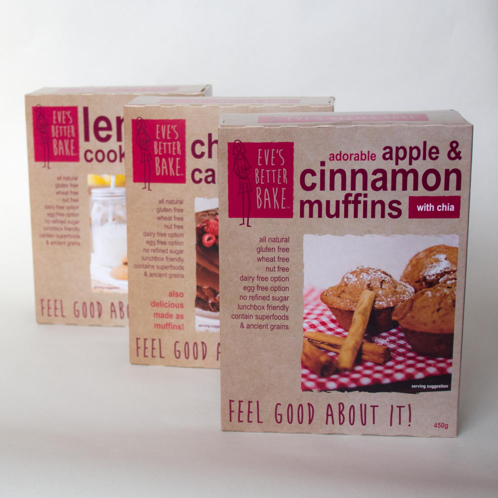 packaging design for cake and biscuit mixes