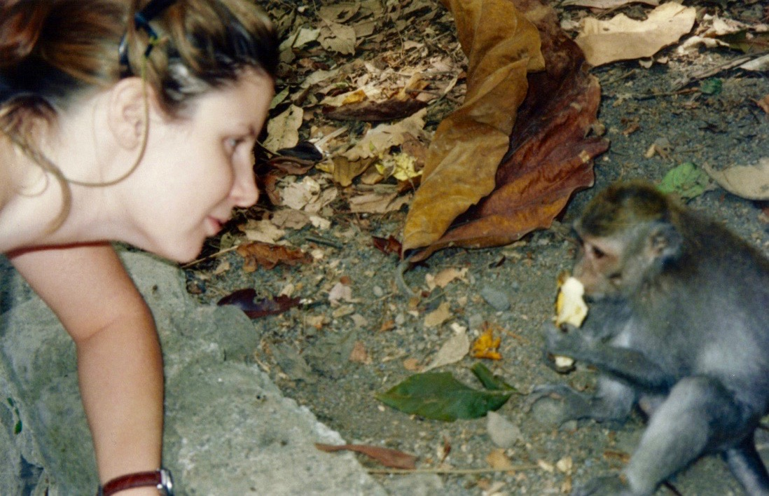 Bali, Ubud, Monkey Forest, Tracey and Monkey.jpg