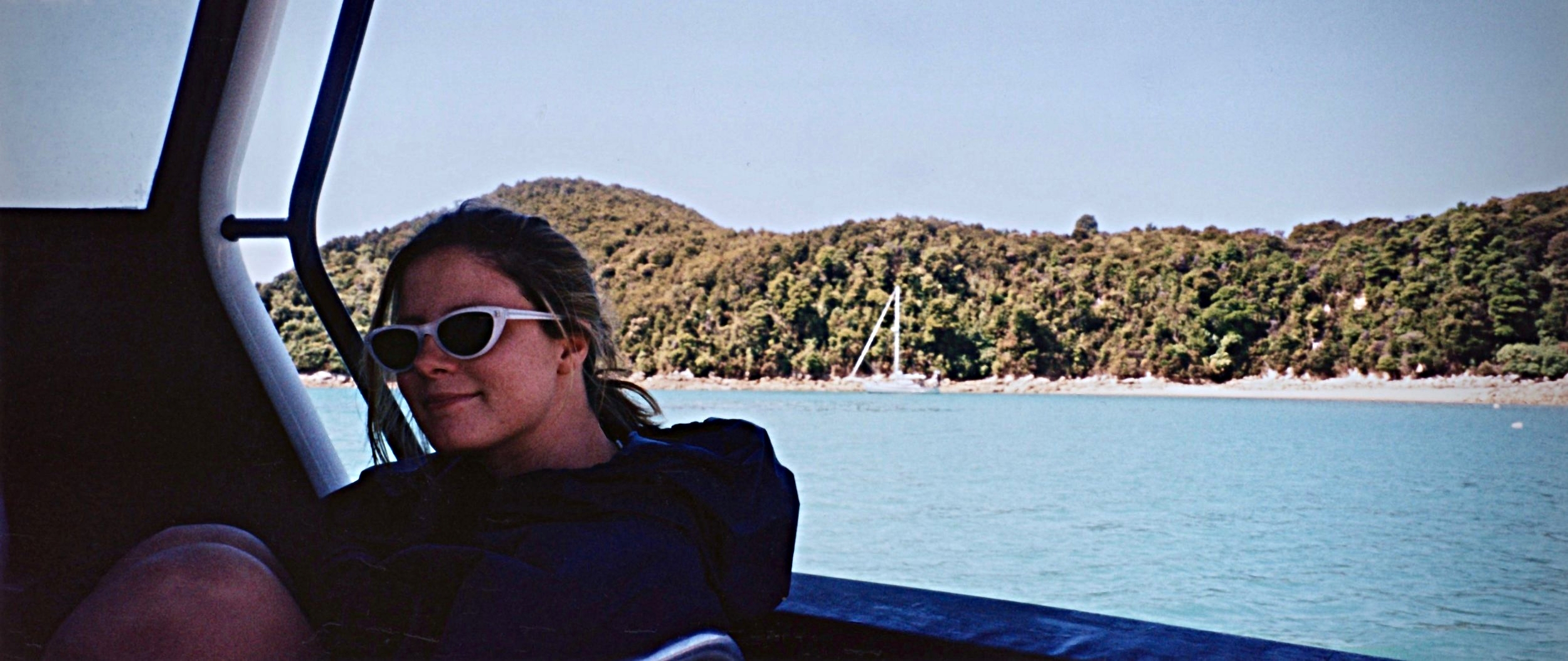 Lula on Brent's boat, Abel Tasmin National Park, New Zealand