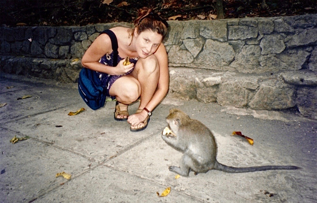 Bali, Ubud, Monkey Forest, Tracey and monkey 2.jpg