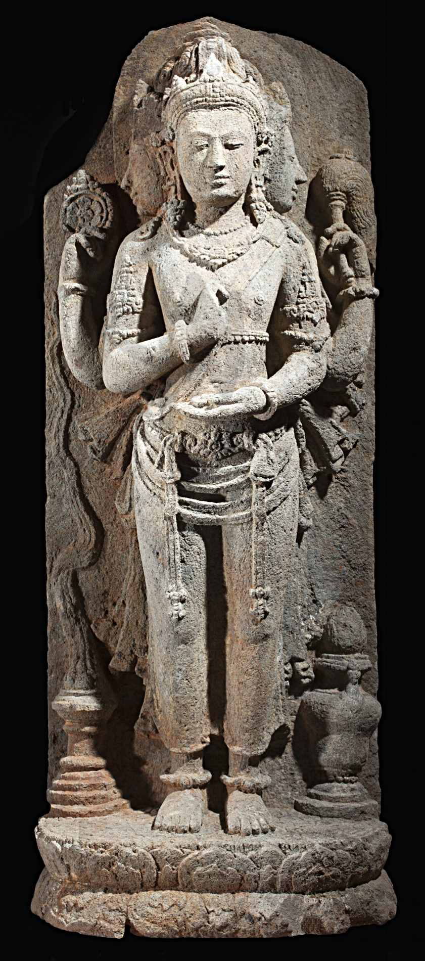 Brahma, the God of Creation, Central Java, Indonesia, 9th century volcanic stone sculpture