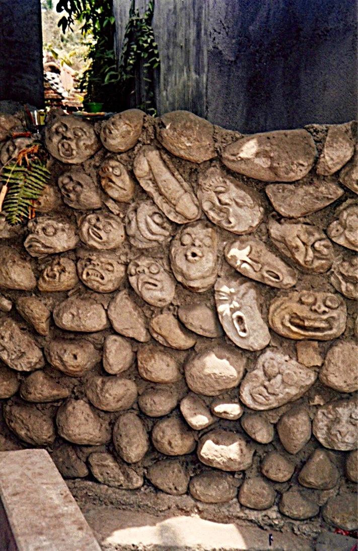 Carved Stone Wall, Ubud, Bali