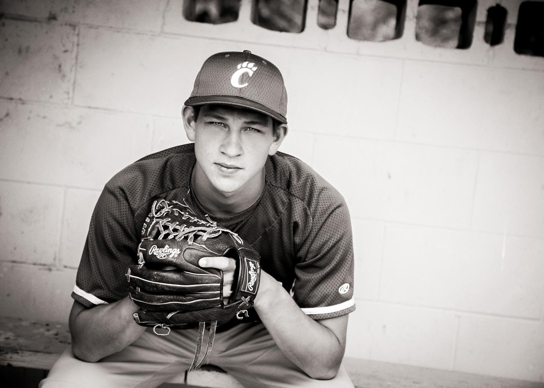 baseball senior portraits black and white hillary frost.jpg