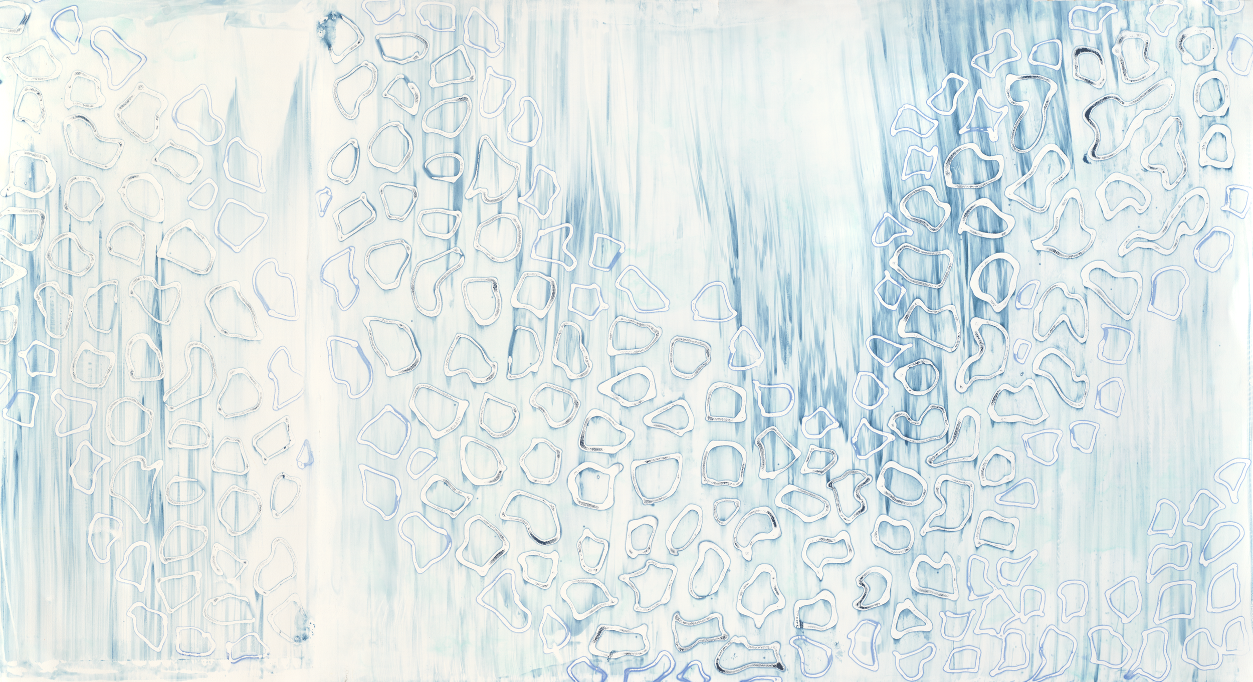 "Azurite, 29"" x 52"", Silkscreen painting on paper, 2015."
