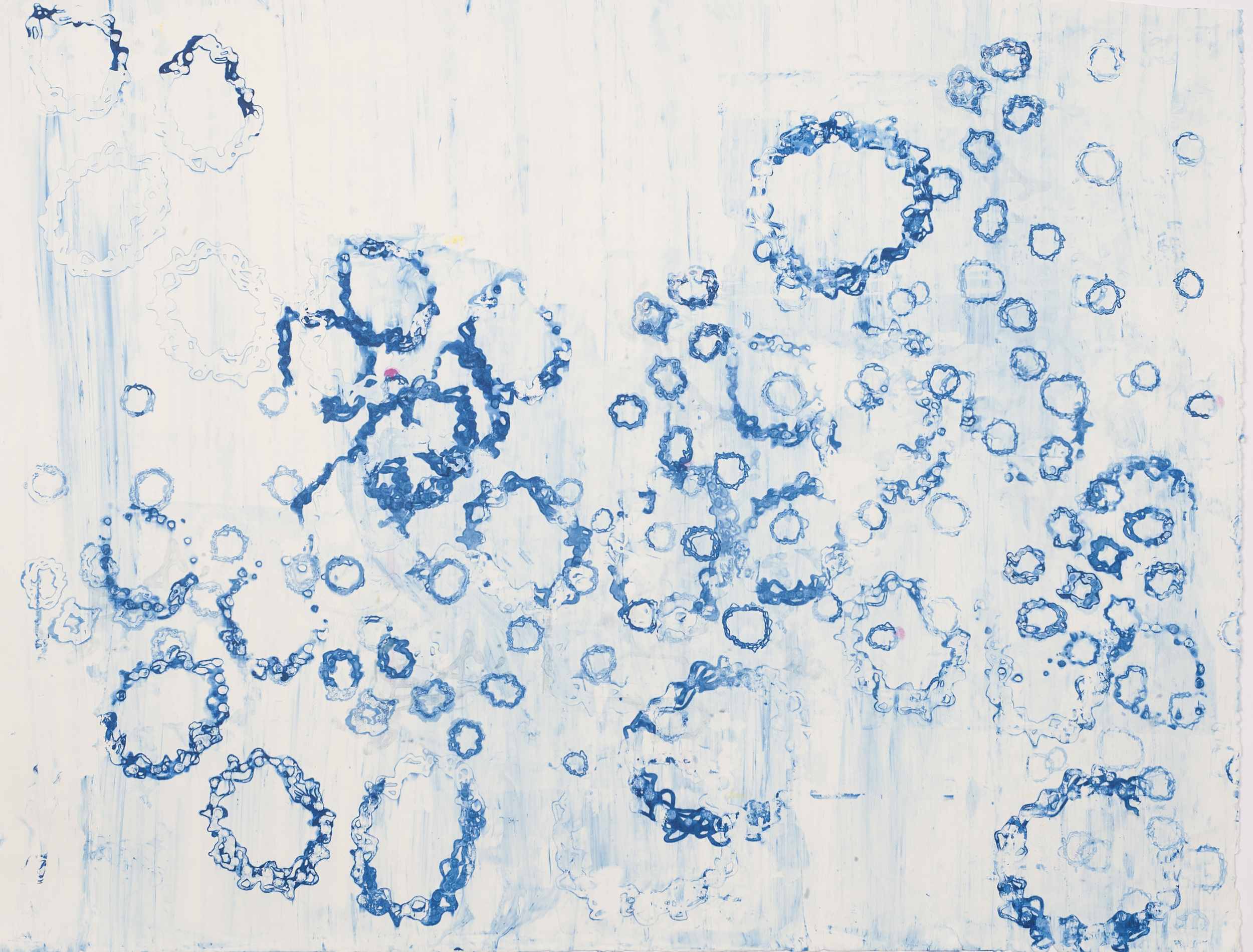 "Blue Bubbly, 39"" x 52"", Silkscreen painting on paper, 2016. SOLD"
