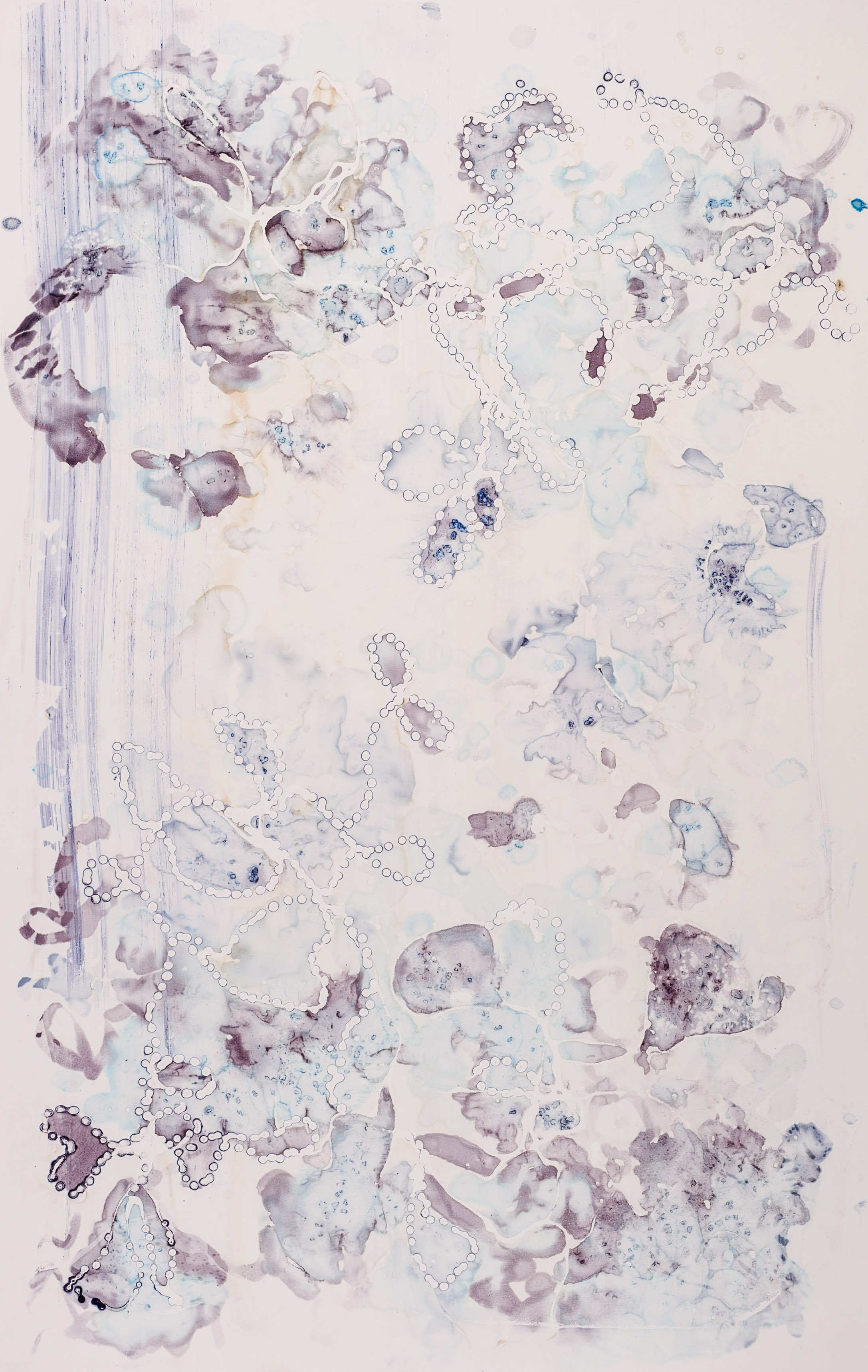 "Cultured Pearl III, 32"" X 50"", silkscreen painting on paper, 2016"