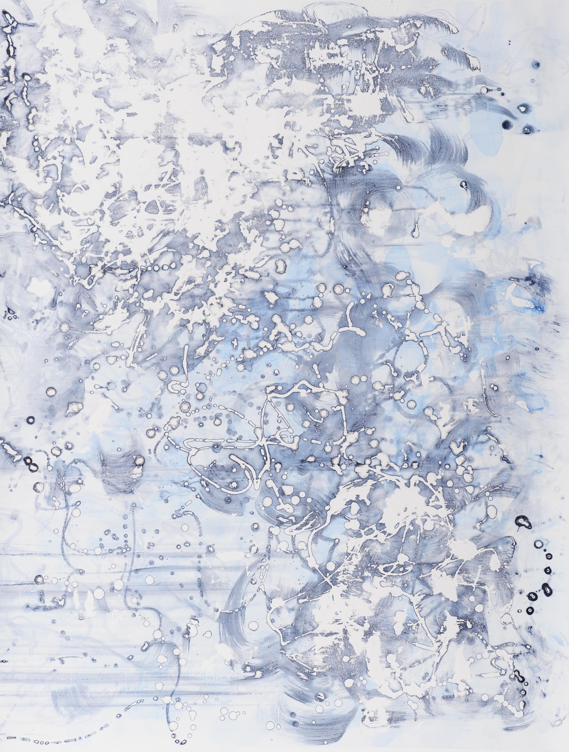 "Intergalactic III 30"" X 40"", silkscreen painting on paper, 2017"