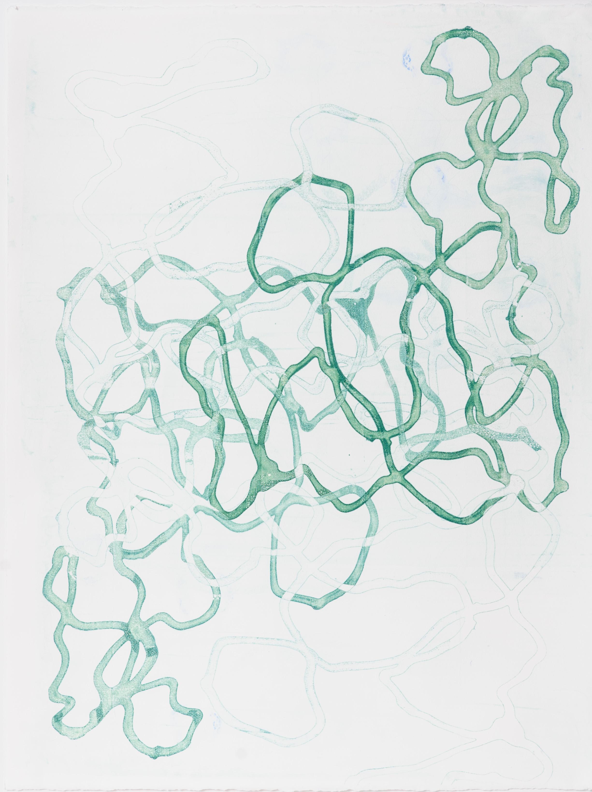 "Tangled V 20"" X 26"", silkscreen painting on paper"