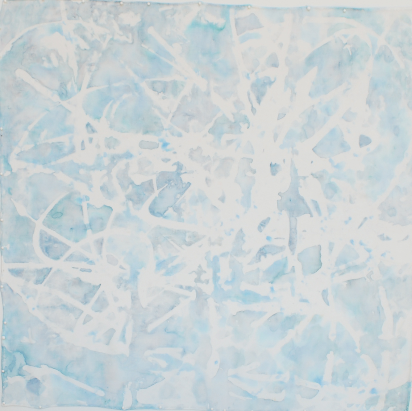 "Cornflower II, 21"" X 21"", painting on silk"