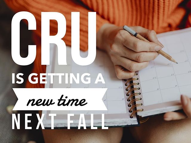 Getting ready to schedule your classes for the Fall? Well high FIVE your friends and tell them all that Cru is moving to 5:55pm on Tuesday nights in HSC 318!! #uab #bhamcru