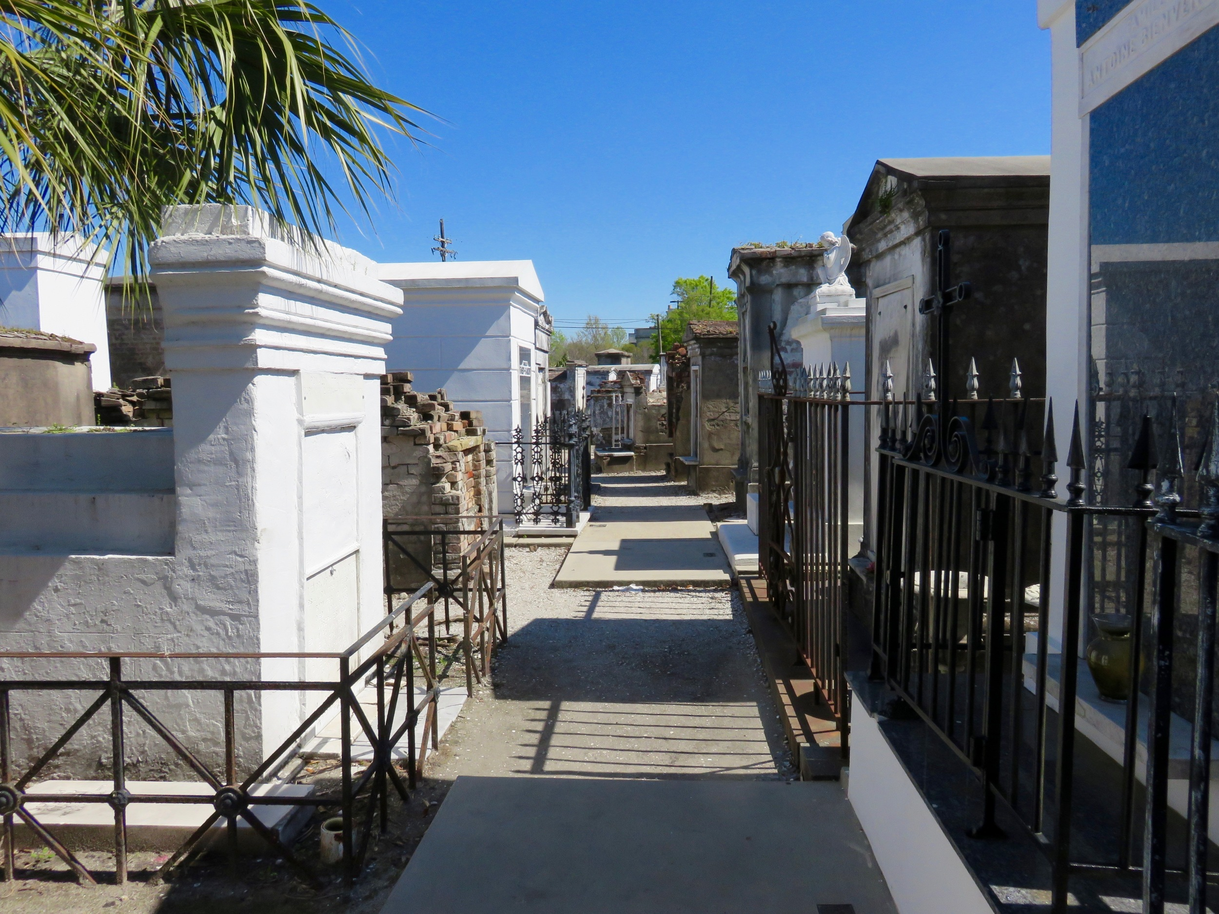 Variety of above ground graves at St. Louis Cemetery.