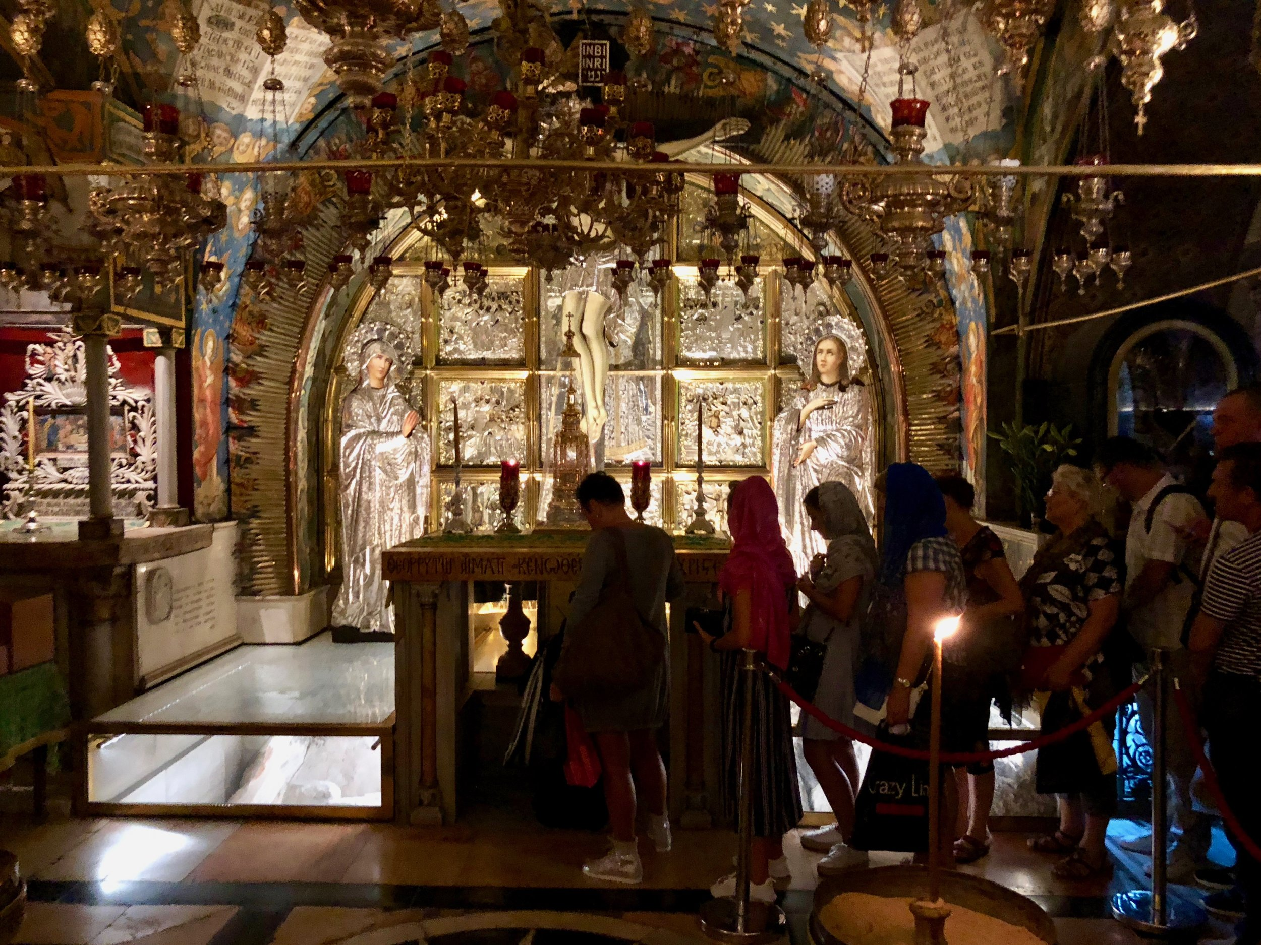 Site where Jesus was said to be crucified in the Church of the Holy Sepulchre.