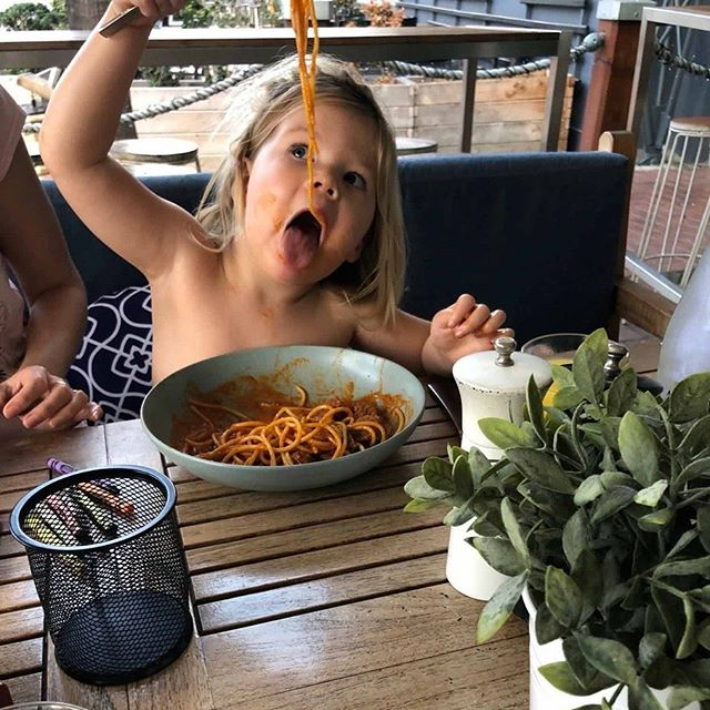 We're proud to be family owned and operated - and we especially love it when our small fans visit. Just ask Jasmine - she really loves her Mediterranea pasta - can't you tell? 🍽🤤 #mediterraneasydney