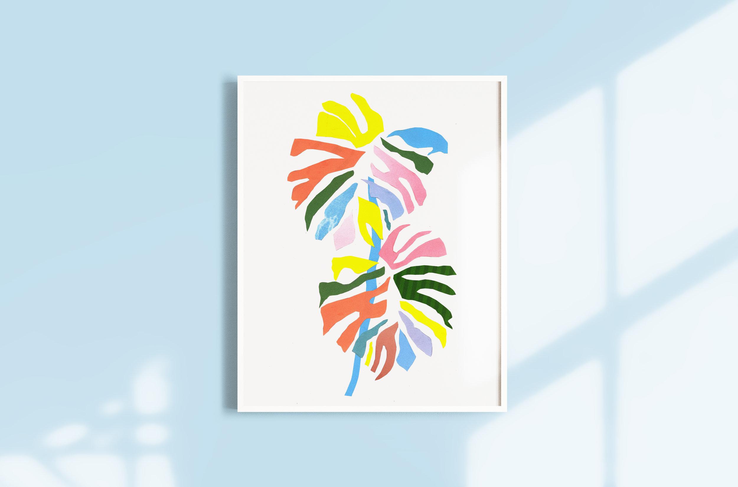 plant pastel collage