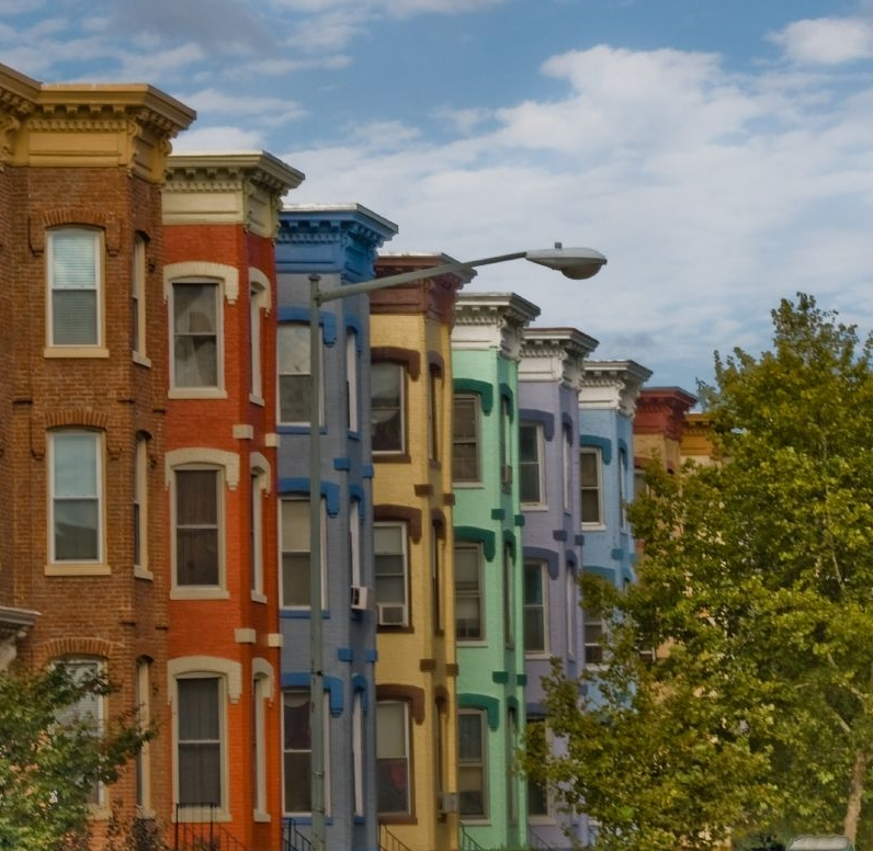 Colorful Rowhouses in Washington DC