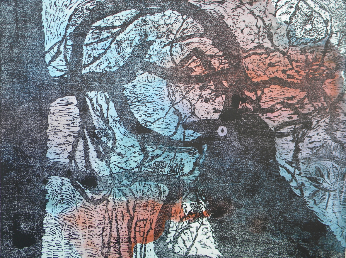 After the Flood , Linda Dening, unique state woodcut
