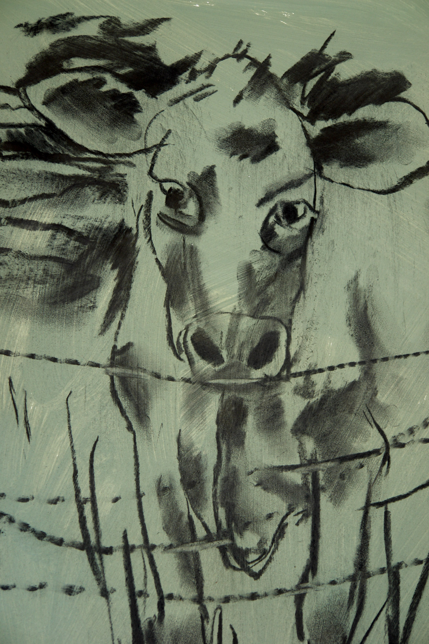 Visitor at the Back Fence , charcoal on painted paper