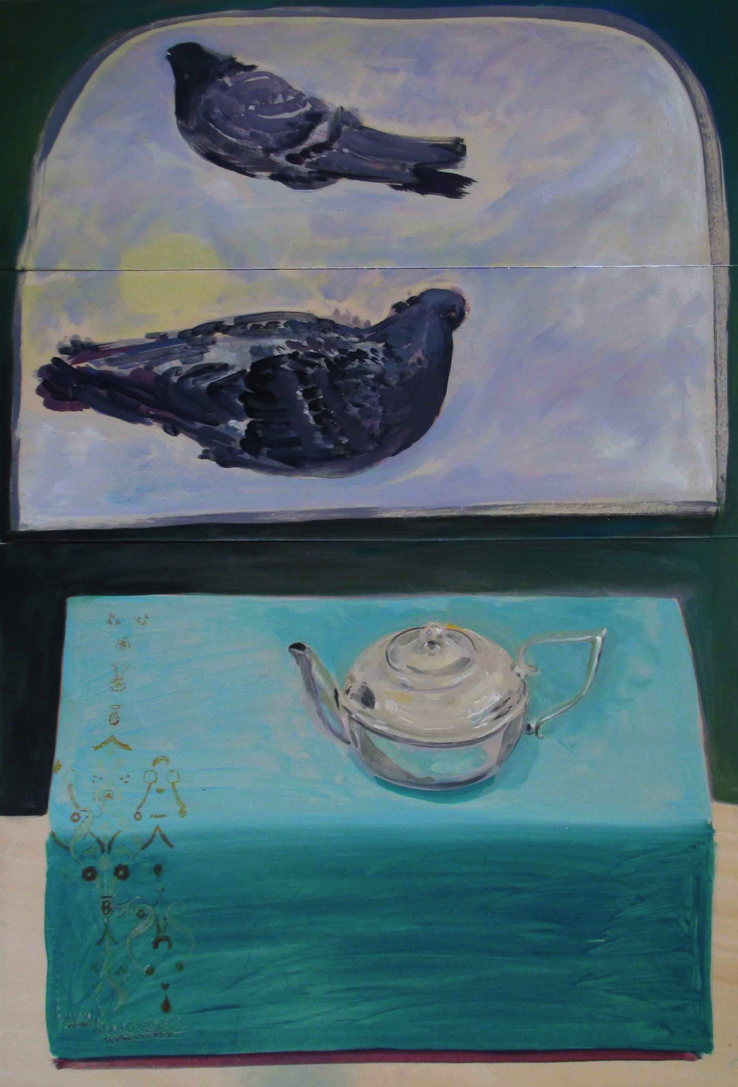 Two flying pigeons and a silver teapot , oil on wood panel