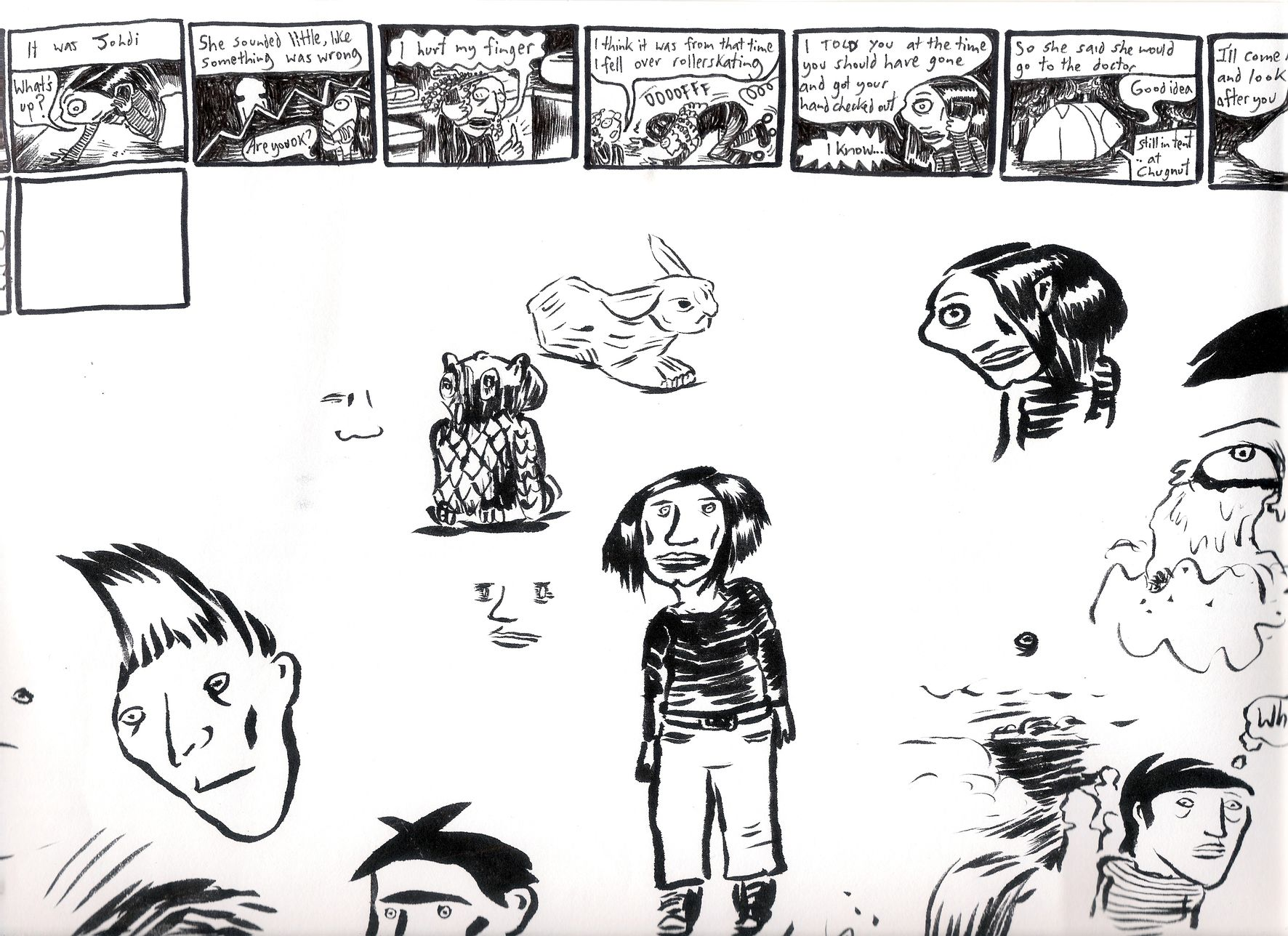 Comic page drawings, Mandy Ord