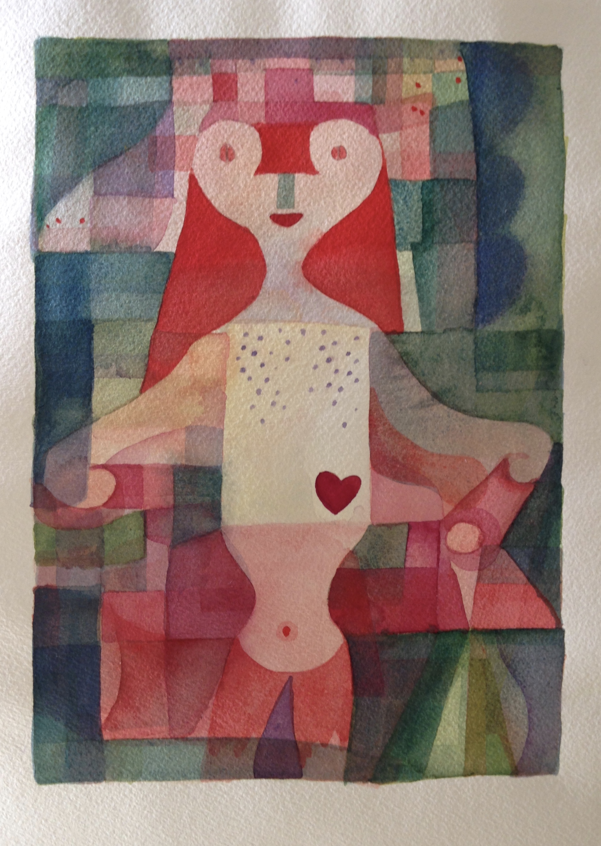 Variations of Queen of Hearts (after Paul Klee) , Stephanie Haygarth, watercolour on paper