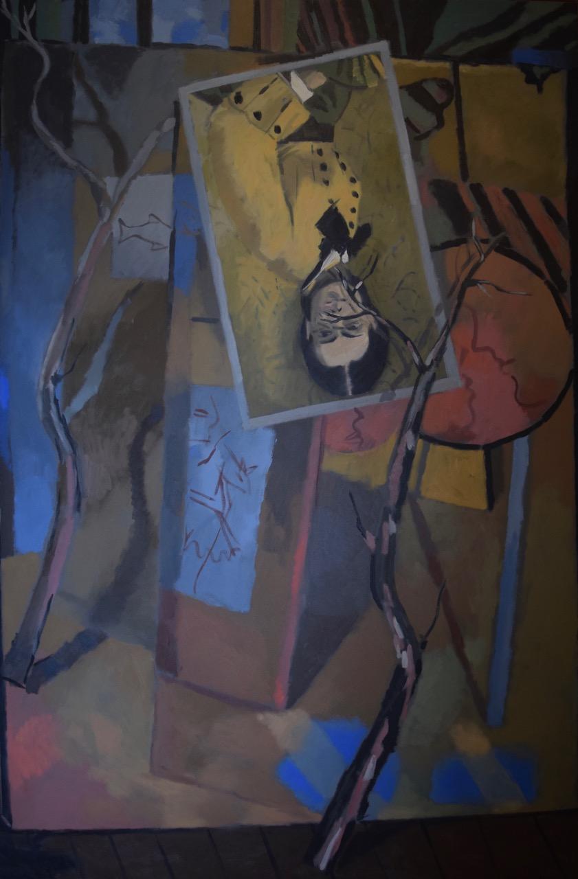 Studio with copy of Degas portrait , oil paint on canvas, 1986