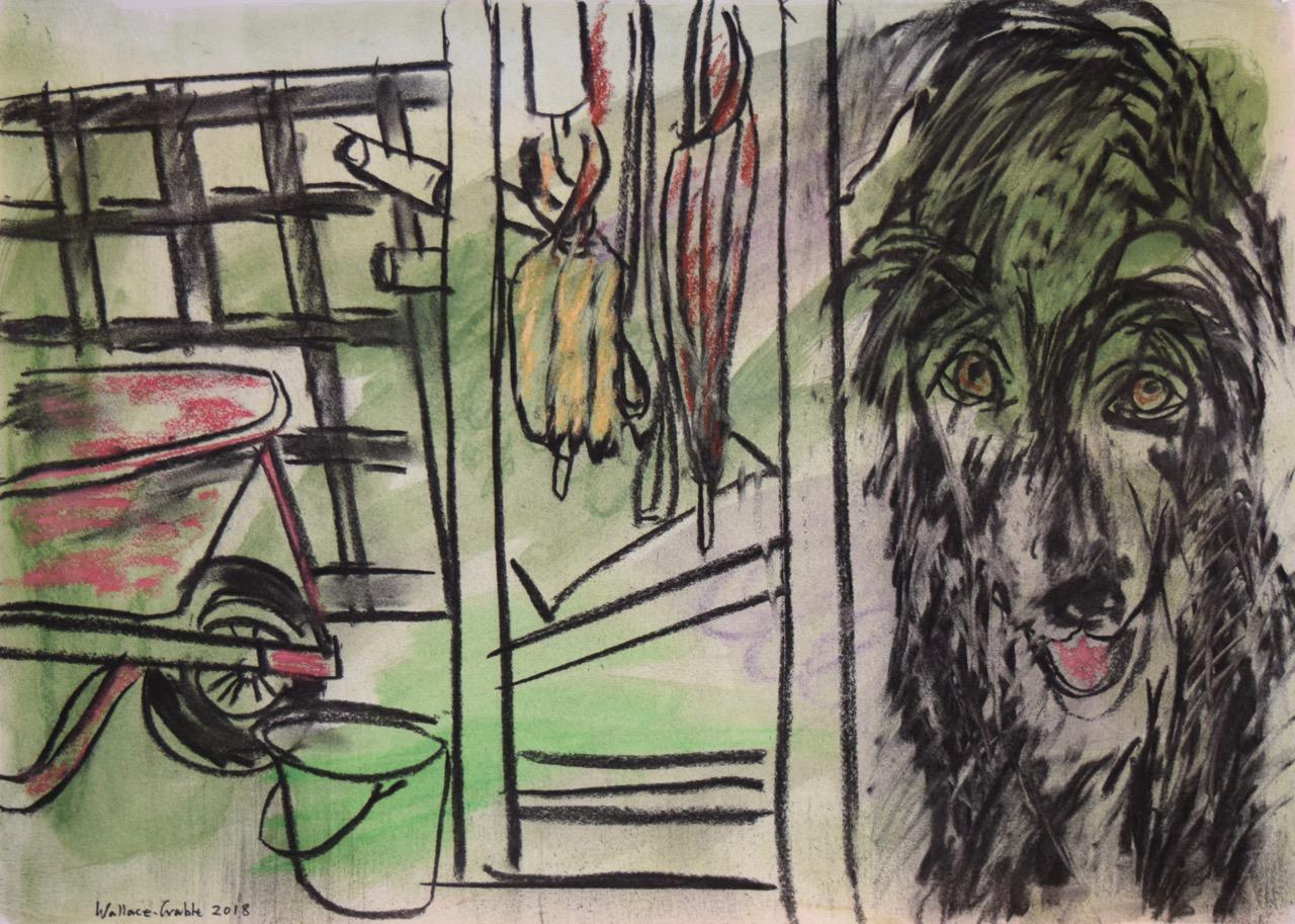 Dogs on back verandah,  oil pastel on paper, 2018