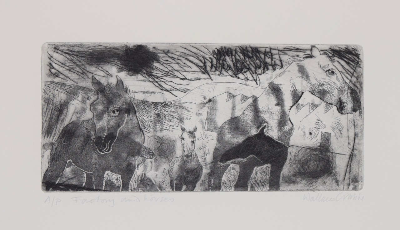 Factory and horses , etching, ink on paper, 1990s