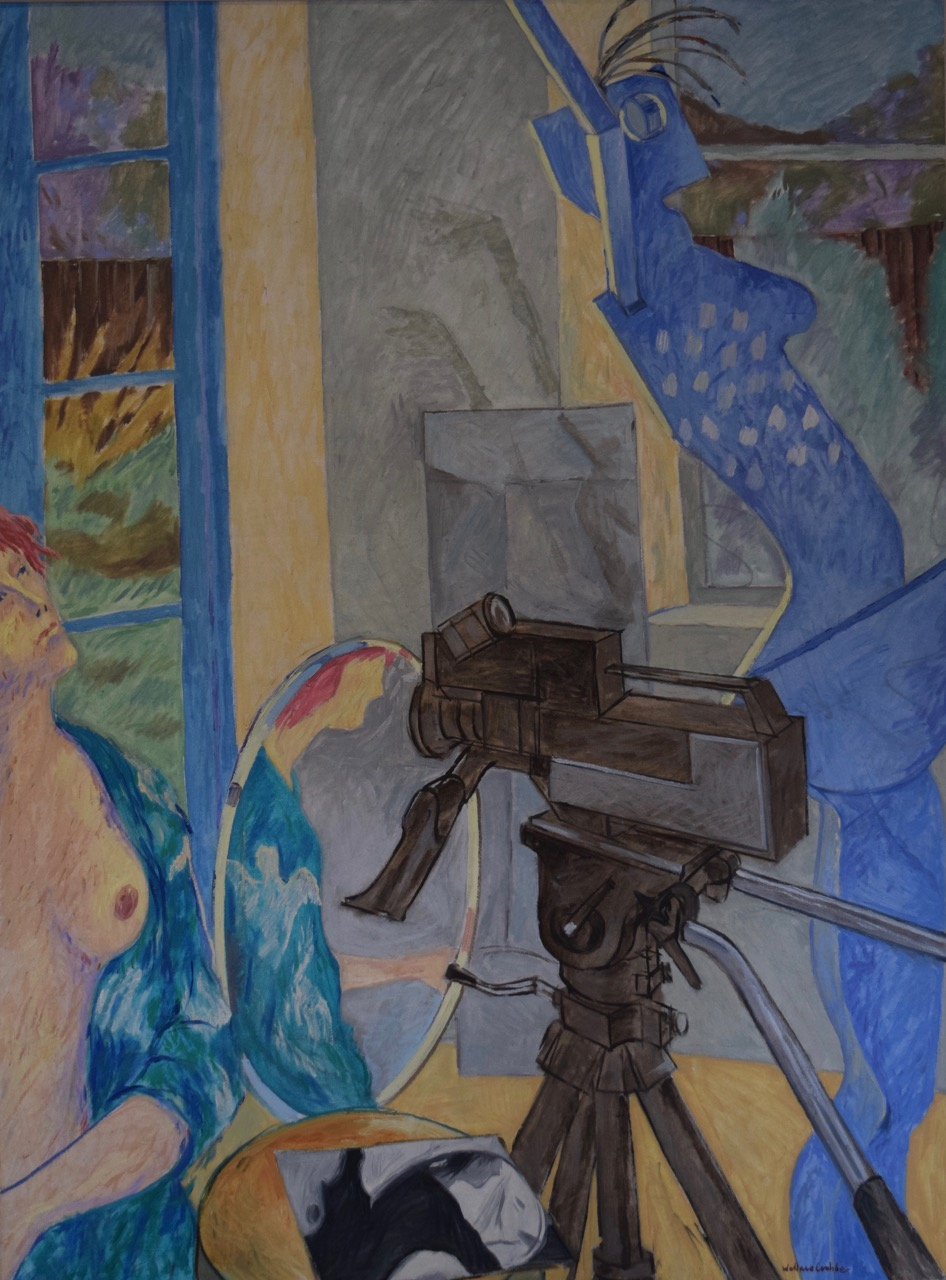 The camera says it all , oil paint on canvas, 1980s