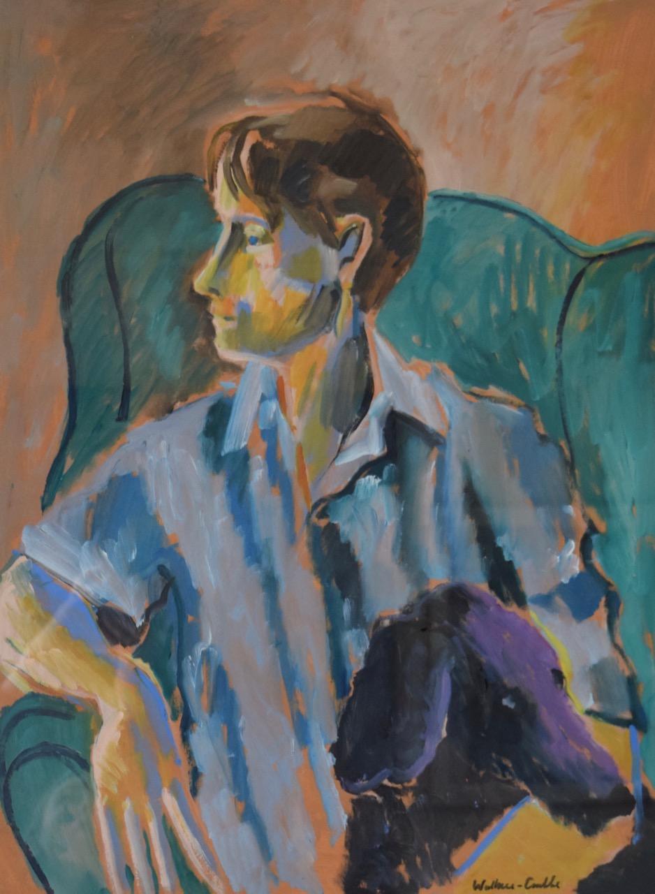 Portrait with poodle , oil paint on paper, 1981